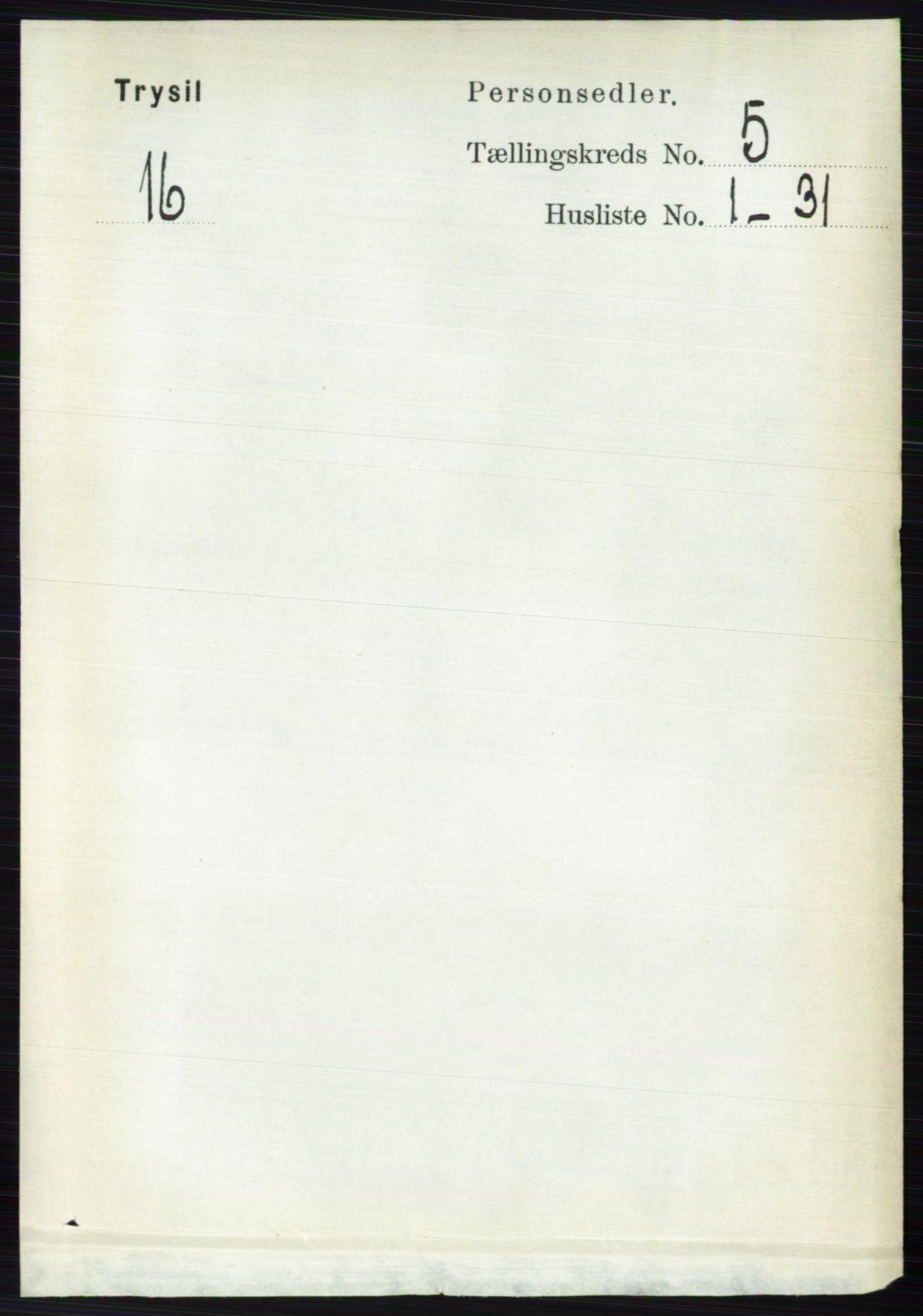RA, Folketelling 1891 for 0428 Trysil herred, 1891, s. 2300