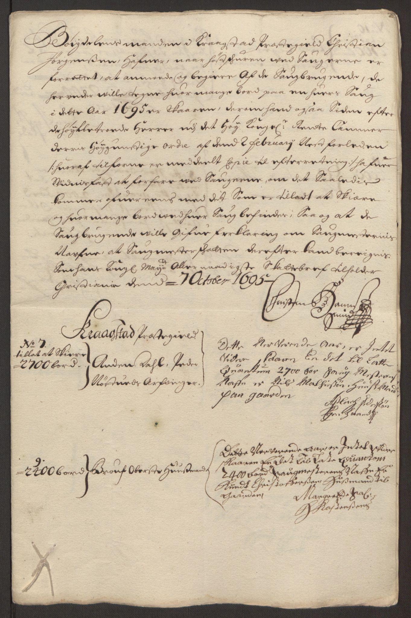 RA, Rentekammeret inntil 1814, Reviderte regnskaper, Fogderegnskap, R10/L0439: Fogderegnskap Aker og Follo, 1695, s. 183