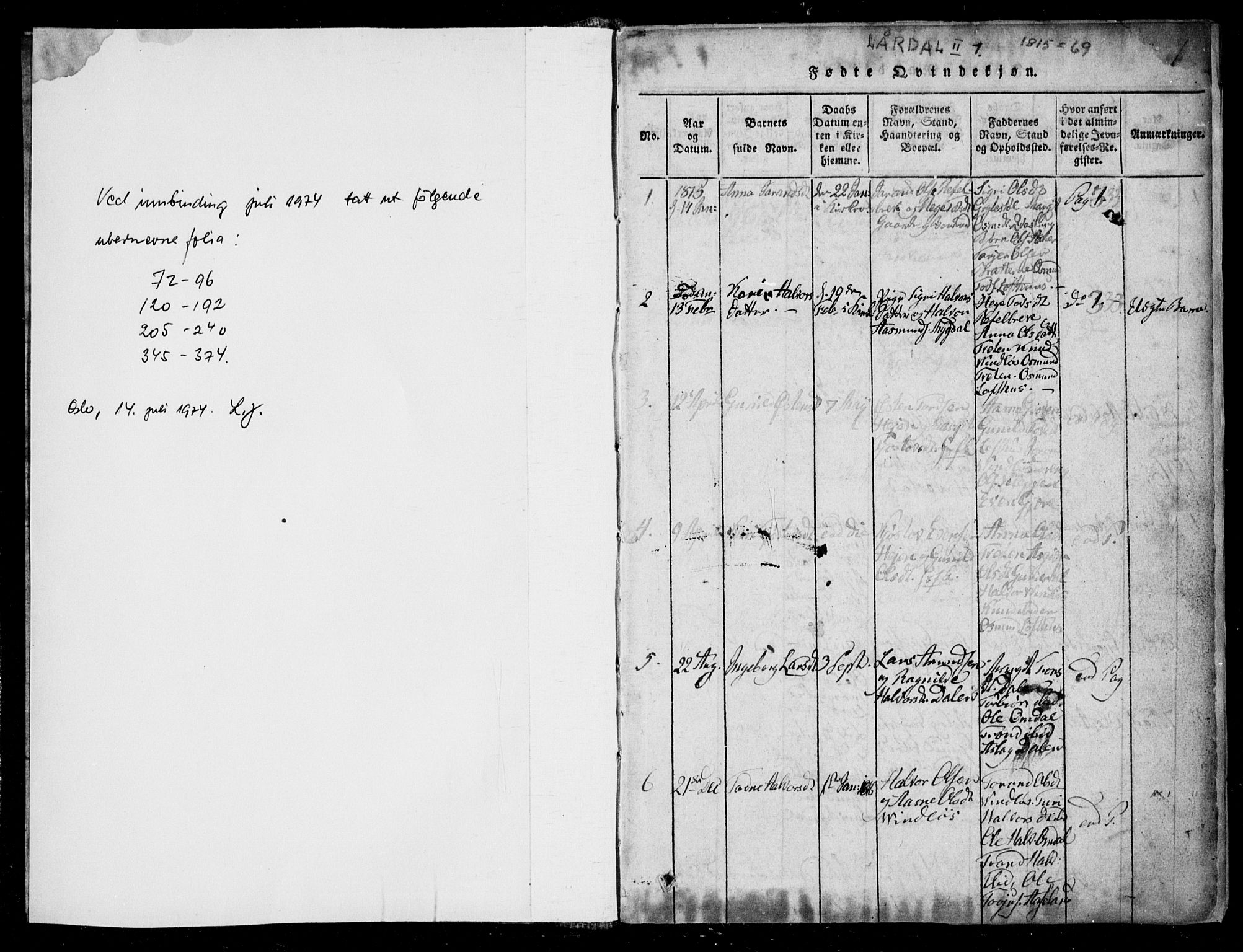 SAKO, Lårdal kirkebøker, F/Fb/L0001: Ministerialbok nr. II 1, 1815-1860, s. 1