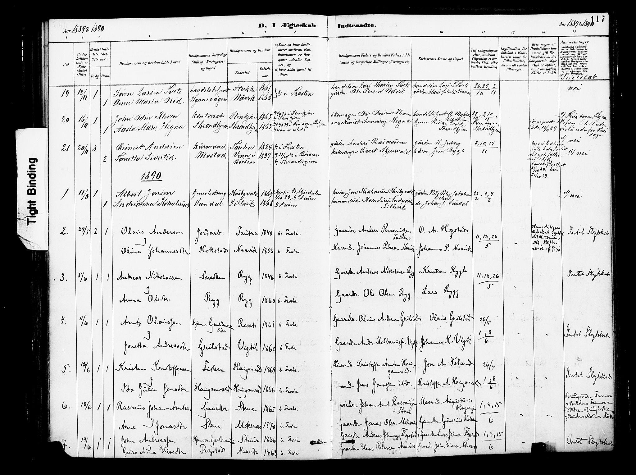 SAT, Ministerialprotokoller, klokkerbøker og fødselsregistre - Nord-Trøndelag, 713/L0121: Ministerialbok nr. 713A10, 1888-1898, s. 117