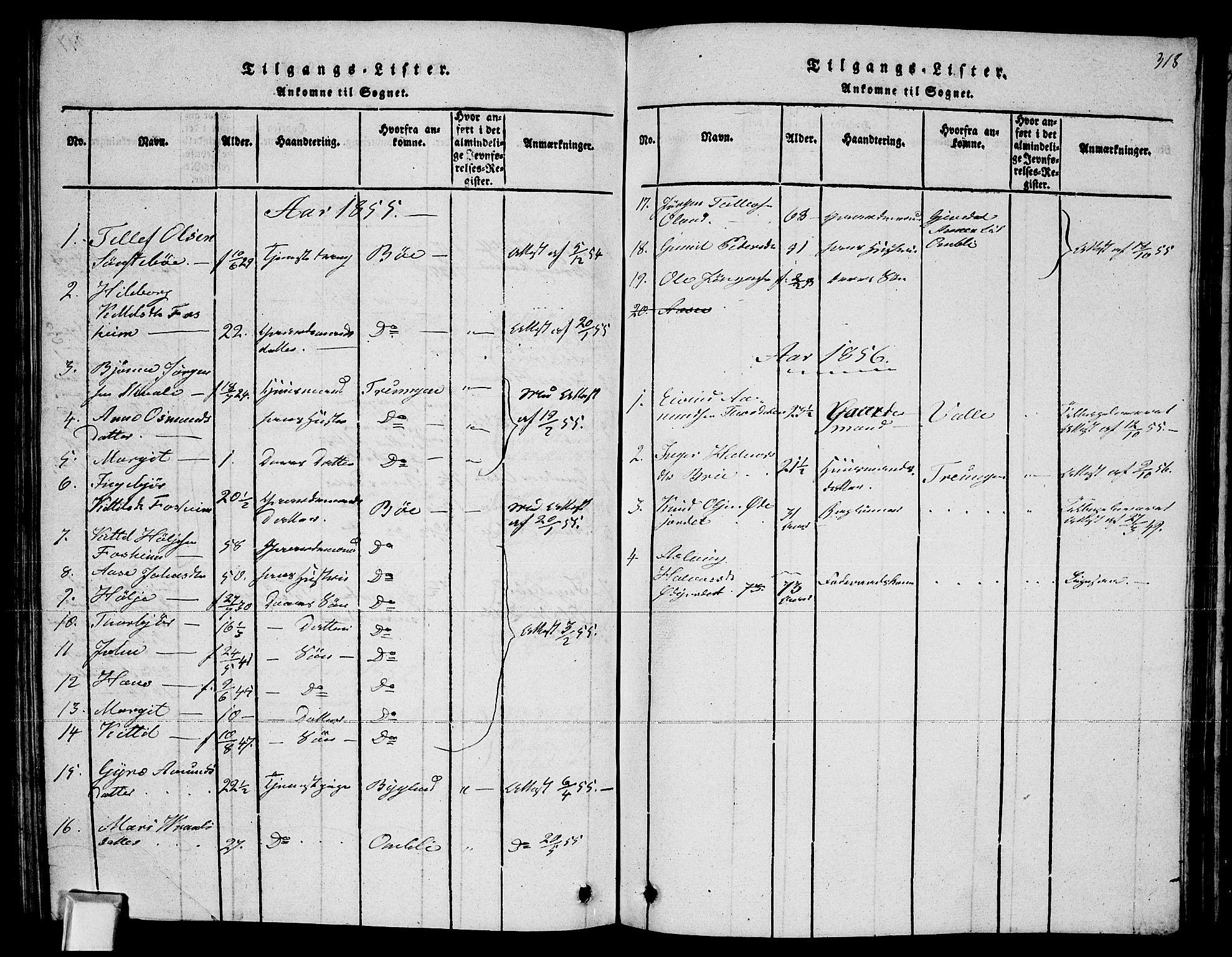 SAKO, Fyresdal kirkebøker, G/Ga/L0002: Klokkerbok nr. I 2, 1815-1857, s. 318