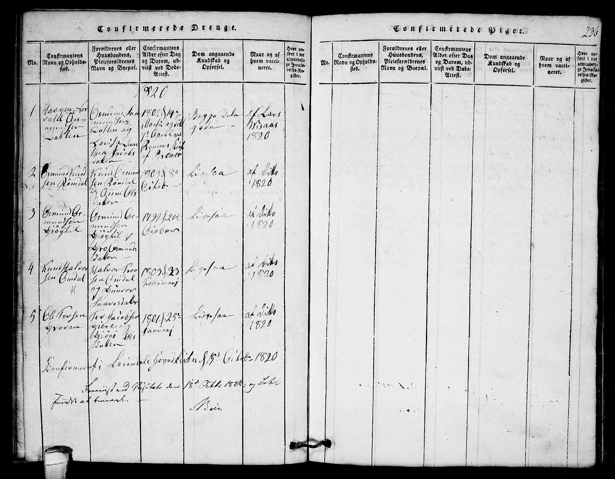 SAKO, Lårdal kirkebøker, G/Gb/L0001: Klokkerbok nr. II 1, 1815-1865, s. 236