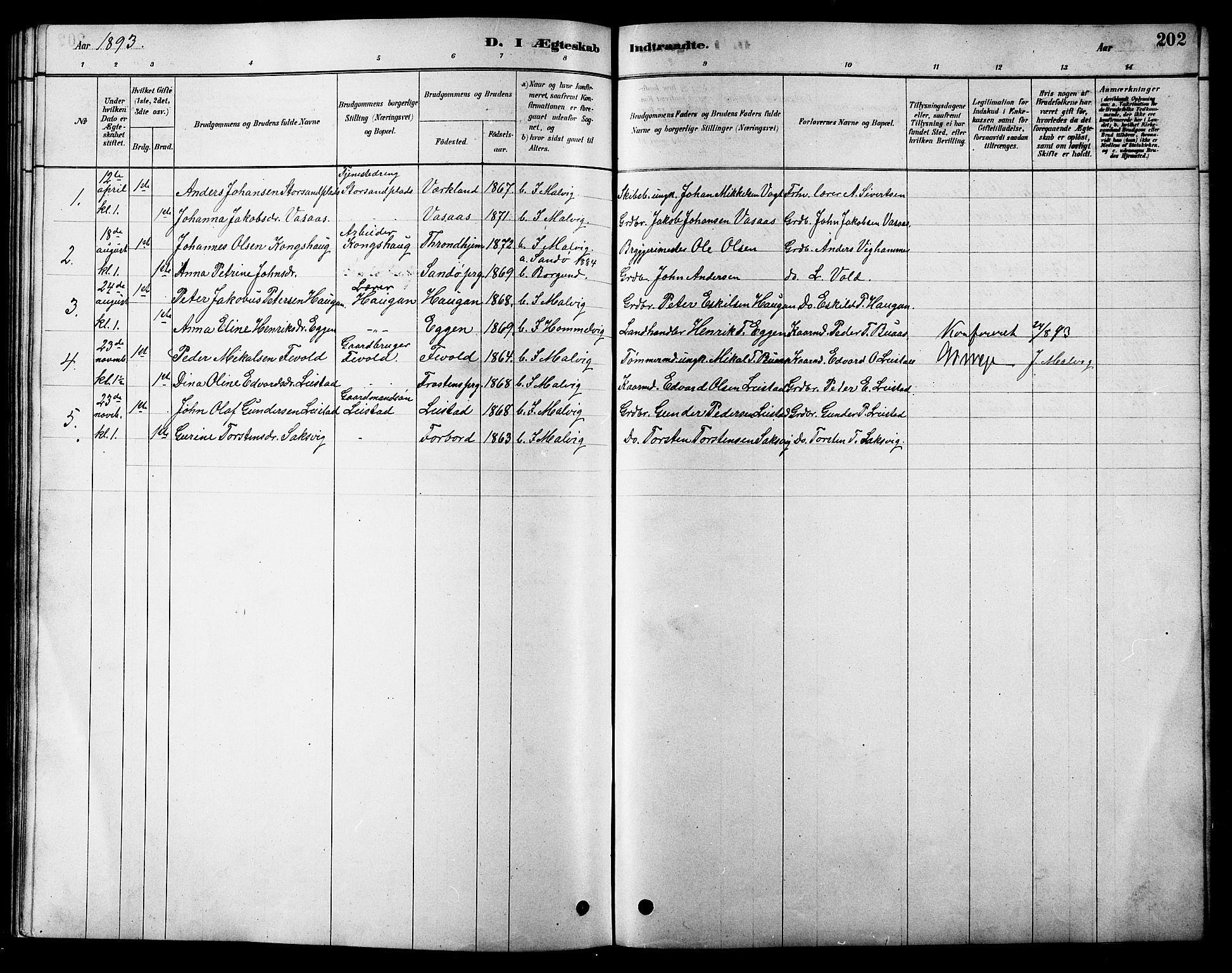 SAT, Ministerialprotokoller, klokkerbøker og fødselsregistre - Sør-Trøndelag, 616/L0423: Klokkerbok nr. 616C06, 1878-1903, s. 202