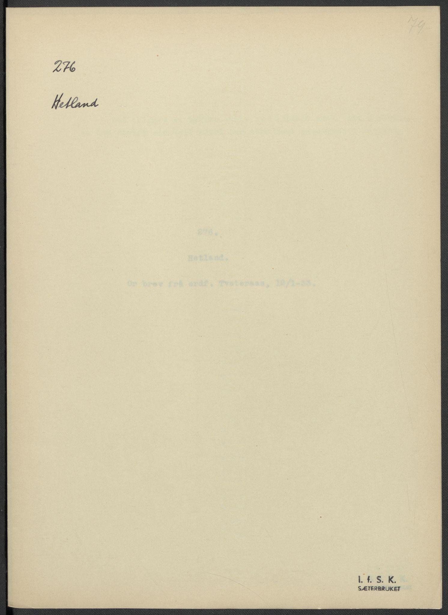 RA, Instituttet for sammenlignende kulturforskning, F/Fc/L0009: Eske B9:, 1932-1935, s. 79