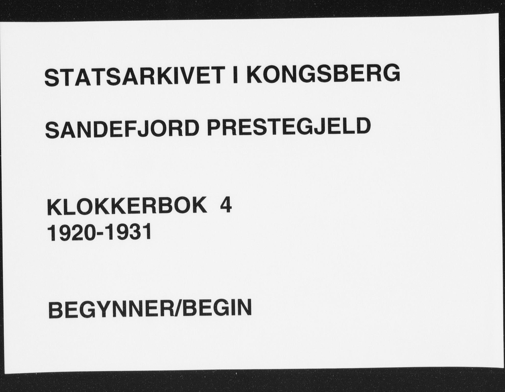 SAKO, Sandefjord kirkebøker, G/Ga/L0004: Klokkerbok nr. 4, 1920-1931