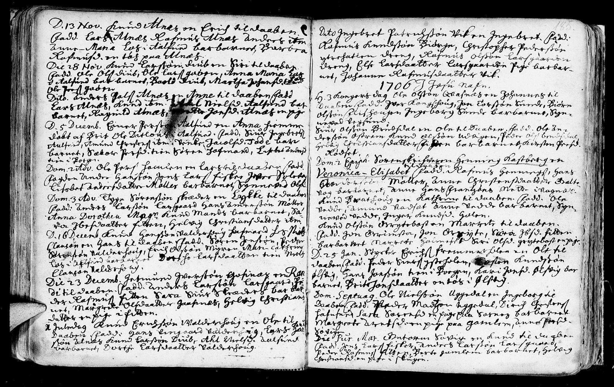 SAT, Ministerialprotokoller, klokkerbøker og fødselsregistre - Møre og Romsdal, 528/L0390: Ministerialbok nr. 528A01, 1698-1739, s. 184-185