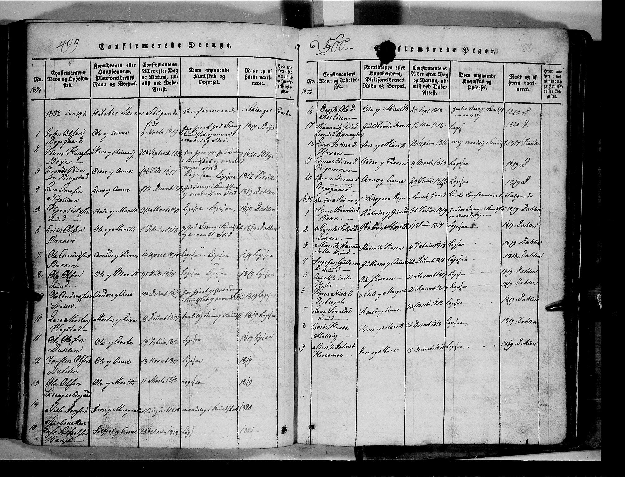 SAH, Lom prestekontor, L/L0003: Klokkerbok nr. 3, 1815-1844, s. 499-500