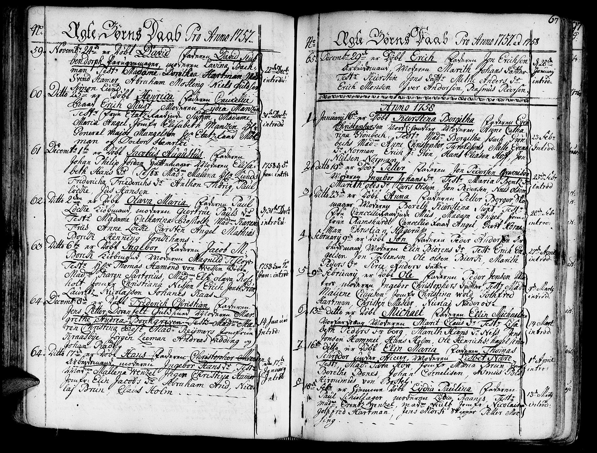 SAT, Ministerialprotokoller, klokkerbøker og fødselsregistre - Sør-Trøndelag, 602/L0103: Ministerialbok nr. 602A01, 1732-1774, s. 67