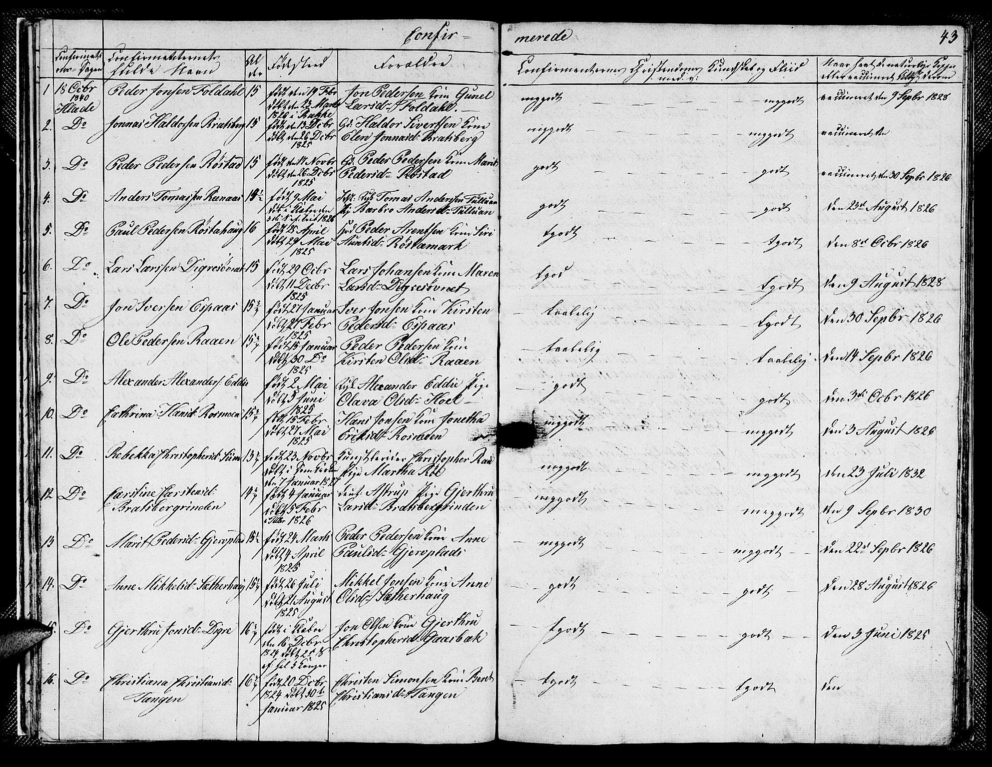 SAT, Ministerialprotokoller, klokkerbøker og fødselsregistre - Sør-Trøndelag, 608/L0338: Klokkerbok nr. 608C04, 1831-1843, s. 43