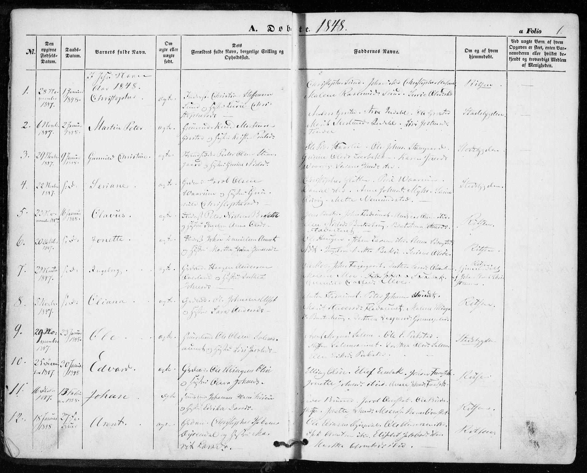 SAT, Ministerialprotokoller, klokkerbøker og fødselsregistre - Sør-Trøndelag, 646/L0611: Ministerialbok nr. 646A09, 1848-1857, s. 1