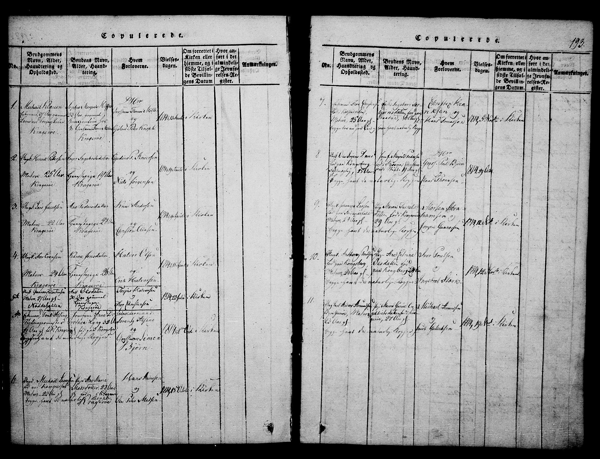 SAKO, Kragerø kirkebøker, F/Fa/L0004: Ministerialbok nr. 4, 1814-1831, s. 193