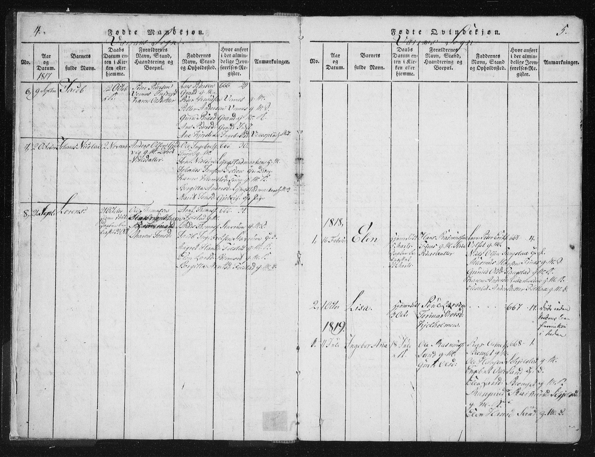 SAT, Ministerialprotokoller, klokkerbøker og fødselsregistre - Nord-Trøndelag, 744/L0417: Ministerialbok nr. 744A01, 1817-1842, s. 4-5