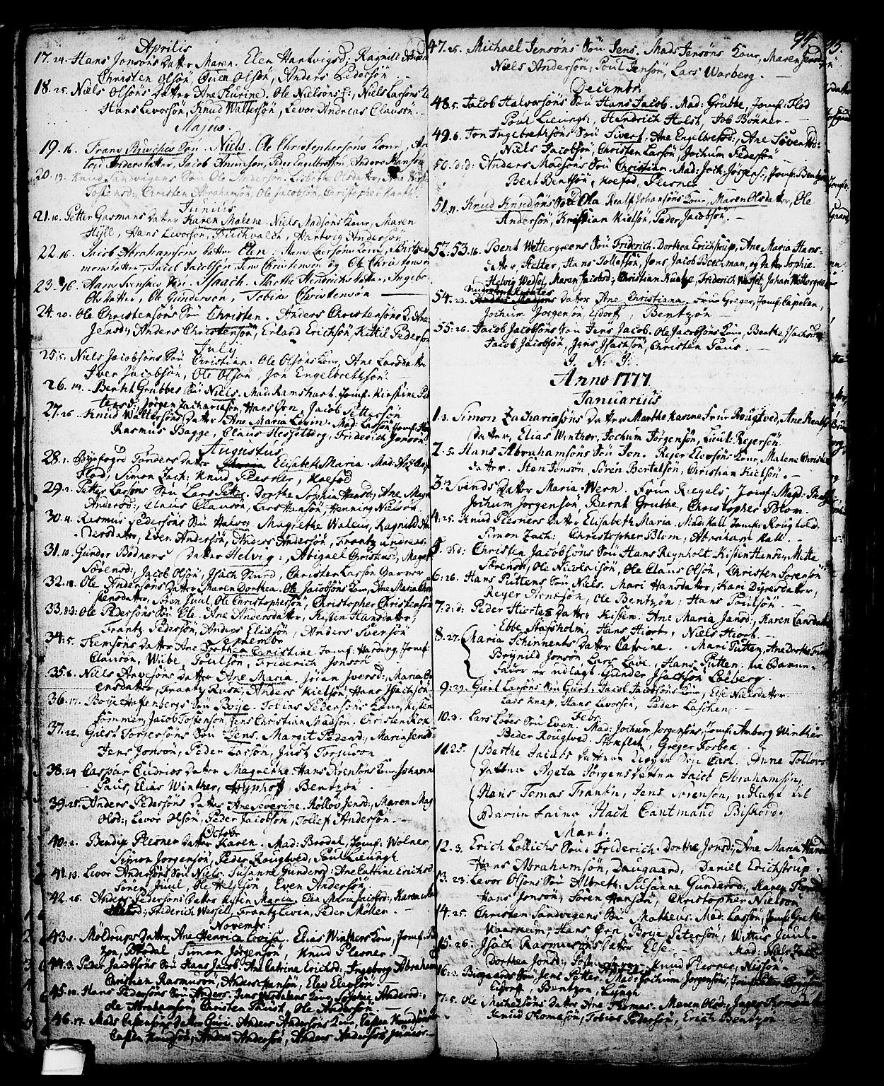 SAKO, Skien kirkebøker, G/Ga/L0001: Klokkerbok nr. 1, 1756-1791, s. 94