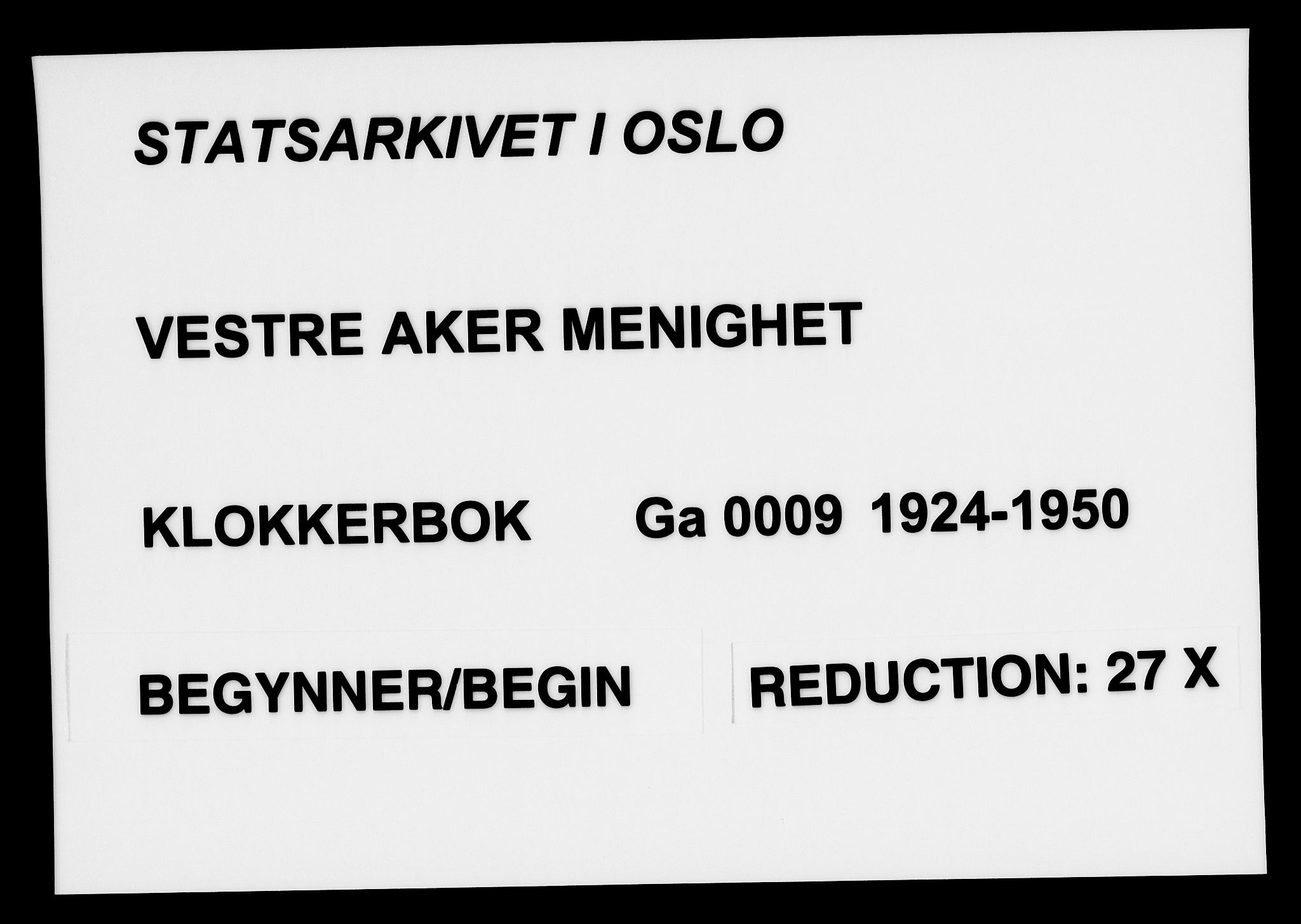 SAO, Vestre Aker prestekontor Kirkebøker, G/Ga/L0009: Klokkerbok nr. I 9, 1924-1950