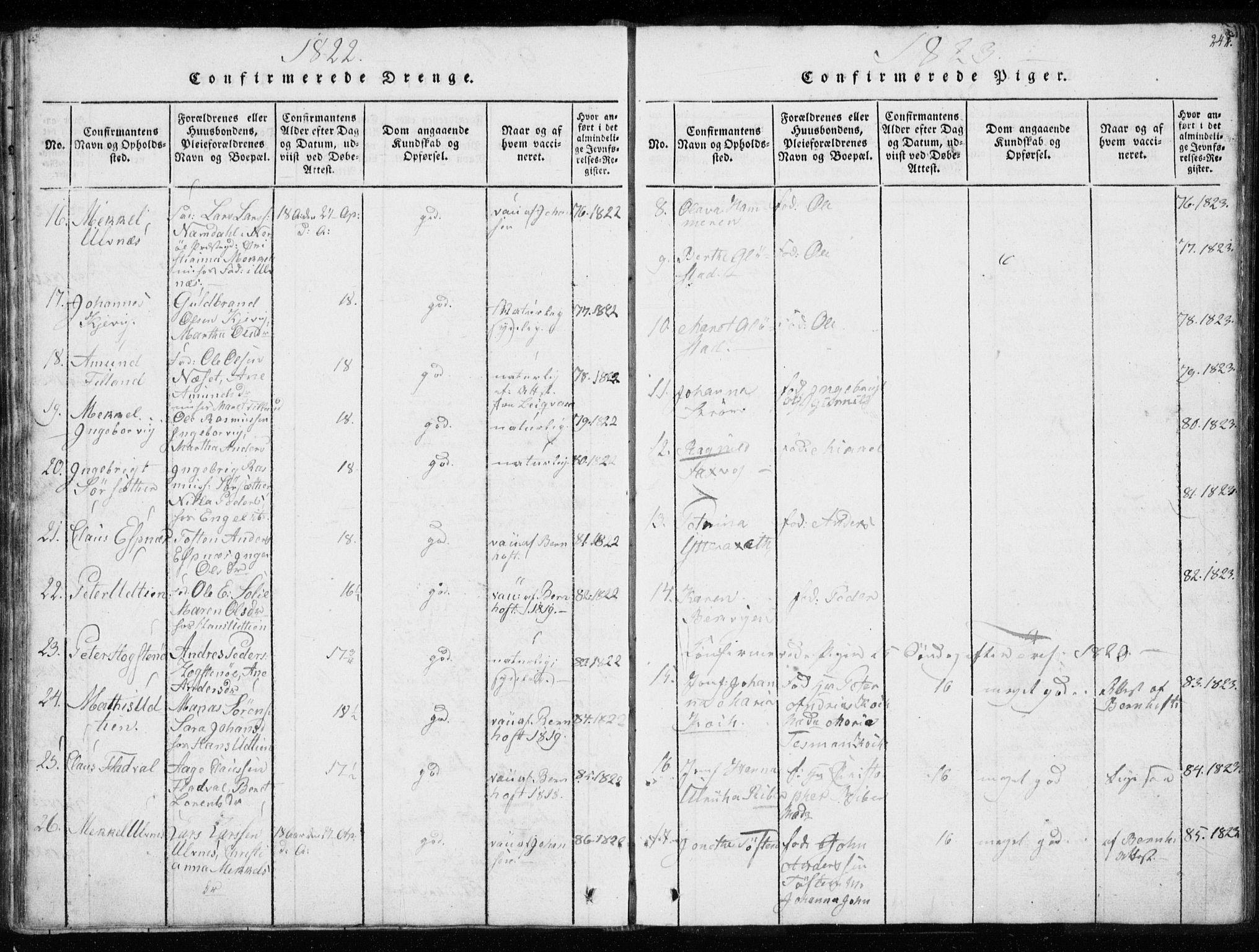 SAT, Ministerialprotokoller, klokkerbøker og fødselsregistre - Sør-Trøndelag, 634/L0527: Ministerialbok nr. 634A03, 1818-1826, s. 242