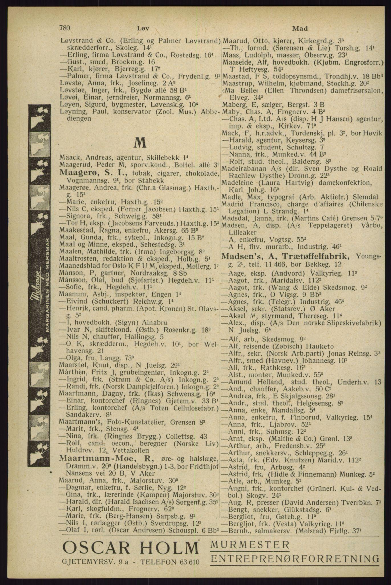 RA, Oslo adressebok (publikasjon)*, 1929, s. 780