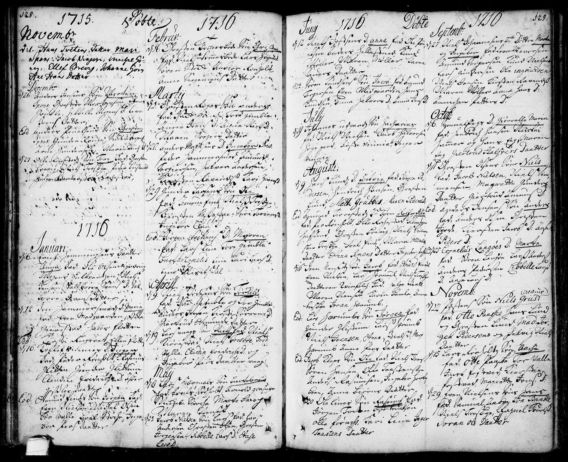 SAKO, Bamble kirkebøker, F/Fa/L0001: Ministerialbok nr. I 1, 1702-1774, s. 128-129