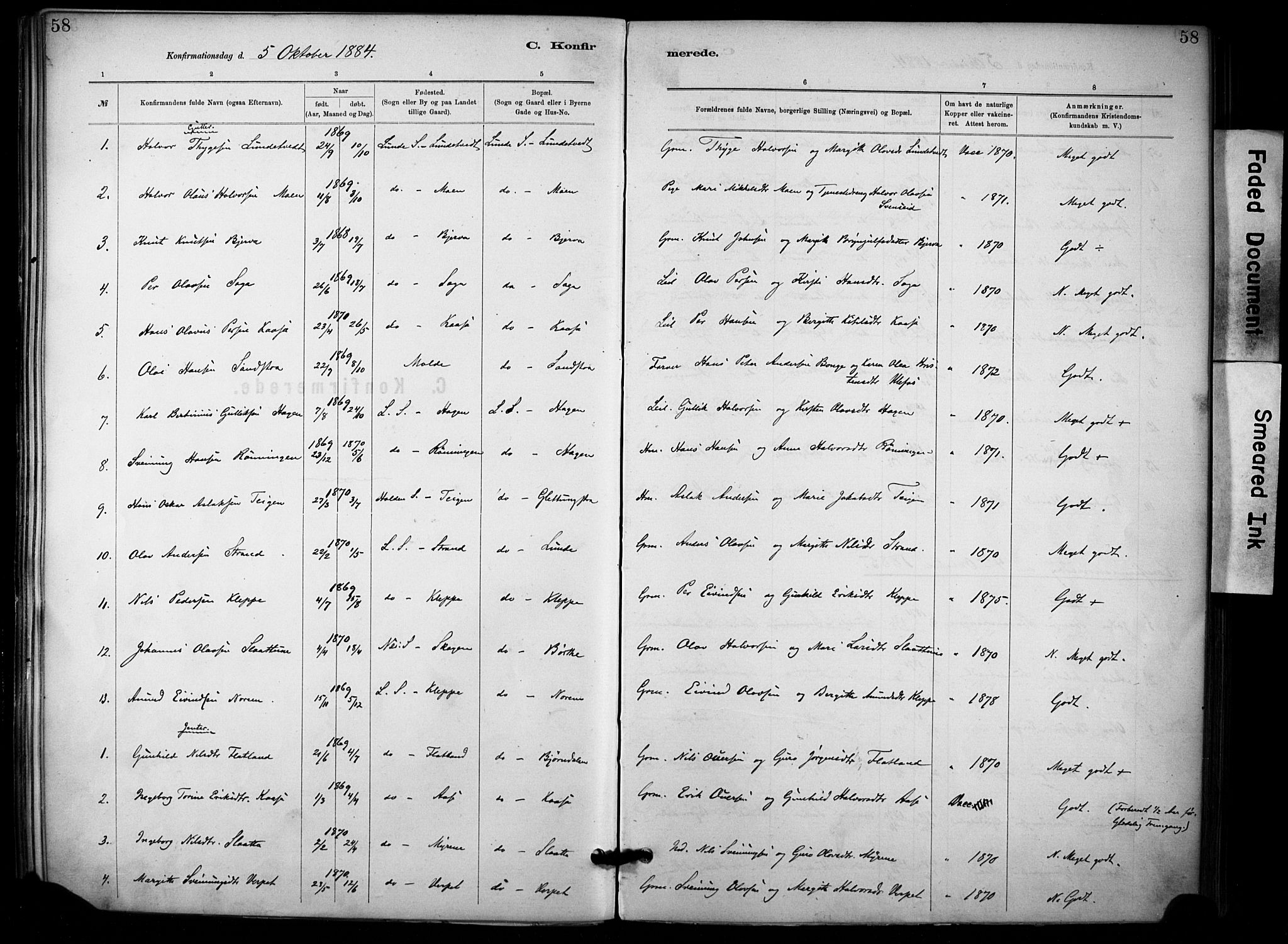 SAKO, Lunde kirkebøker, F/Fa/L0002: Ministerialbok nr. I 2, 1884-1892, s. 58