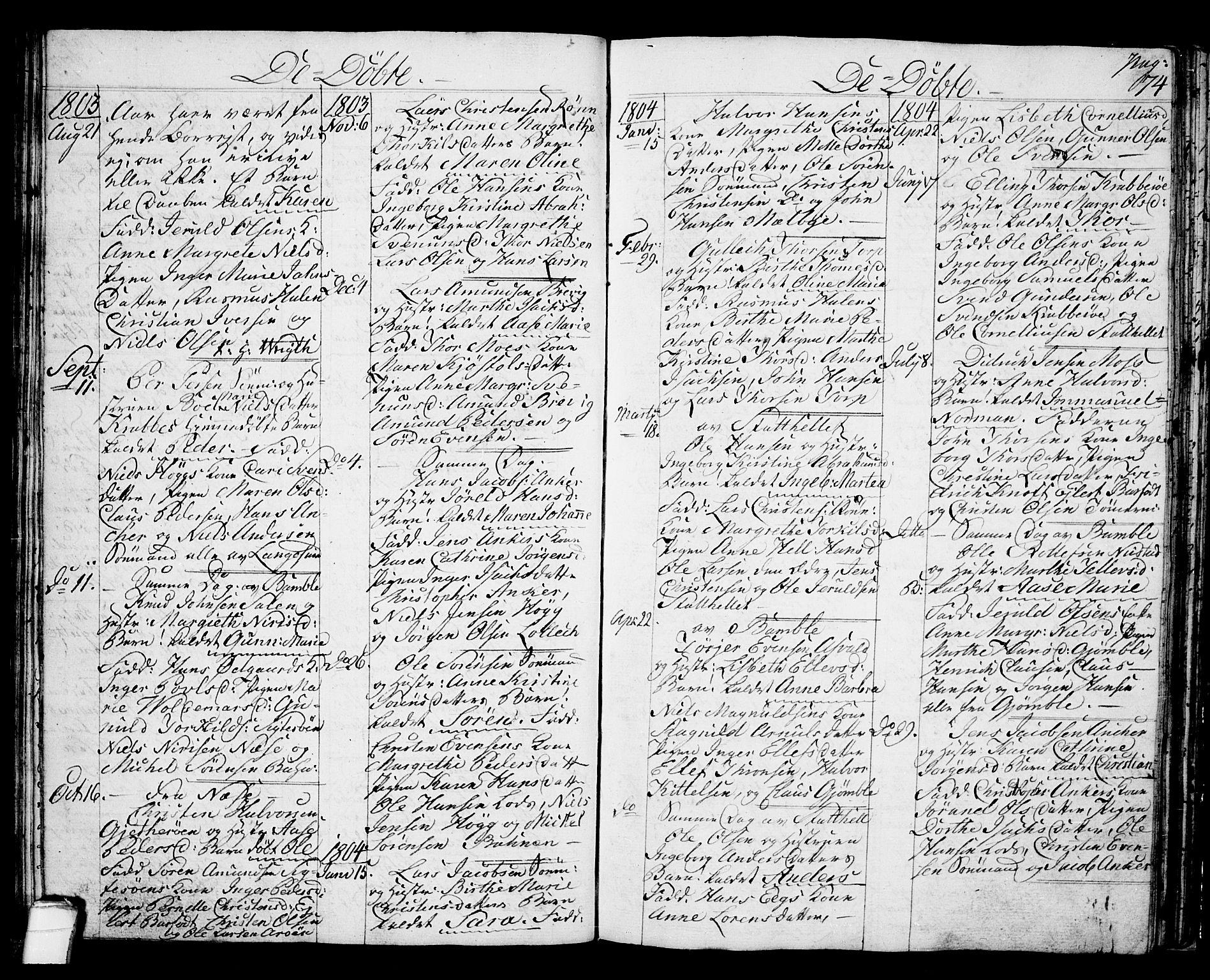 SAKO, Langesund kirkebøker, G/Ga/L0002: Klokkerbok nr. 2, 1801-1815, s. 74