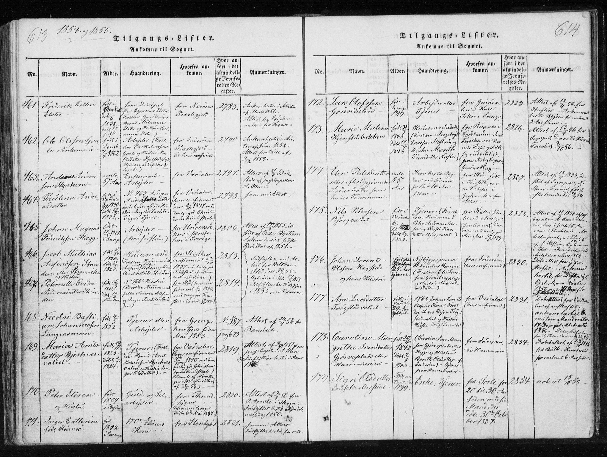 SAT, Ministerialprotokoller, klokkerbøker og fødselsregistre - Nord-Trøndelag, 749/L0469: Ministerialbok nr. 749A03, 1817-1857, s. 613-614