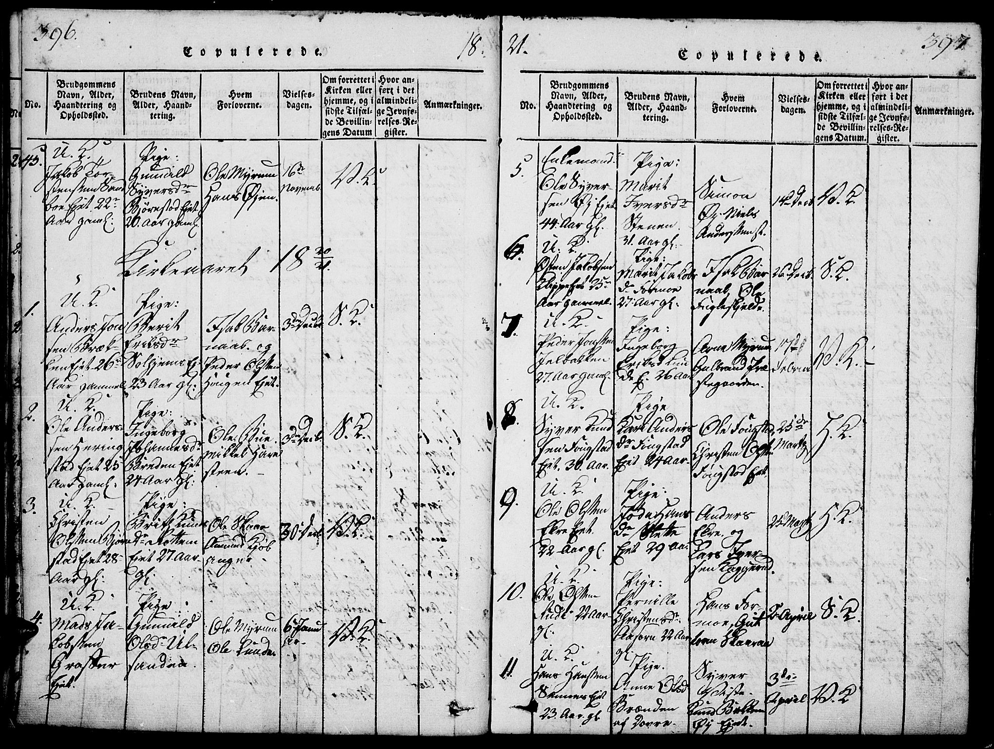 SAH, Vågå prestekontor, Ministerialbok nr. 3, 1815-1827, s. 396-397