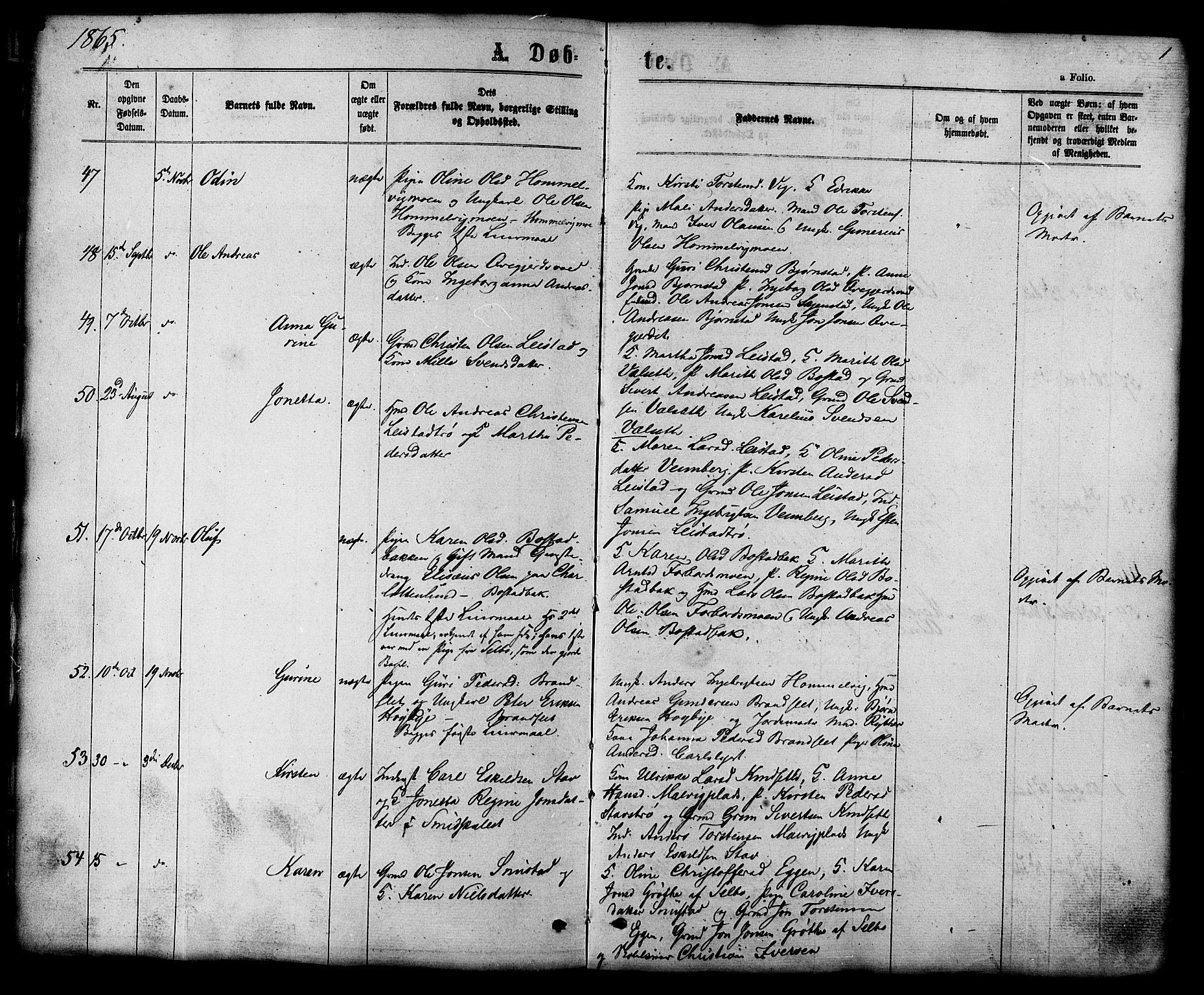 SAT, Ministerialprotokoller, klokkerbøker og fødselsregistre - Sør-Trøndelag, 616/L0409: Ministerialbok nr. 616A06, 1865-1877, s. 1