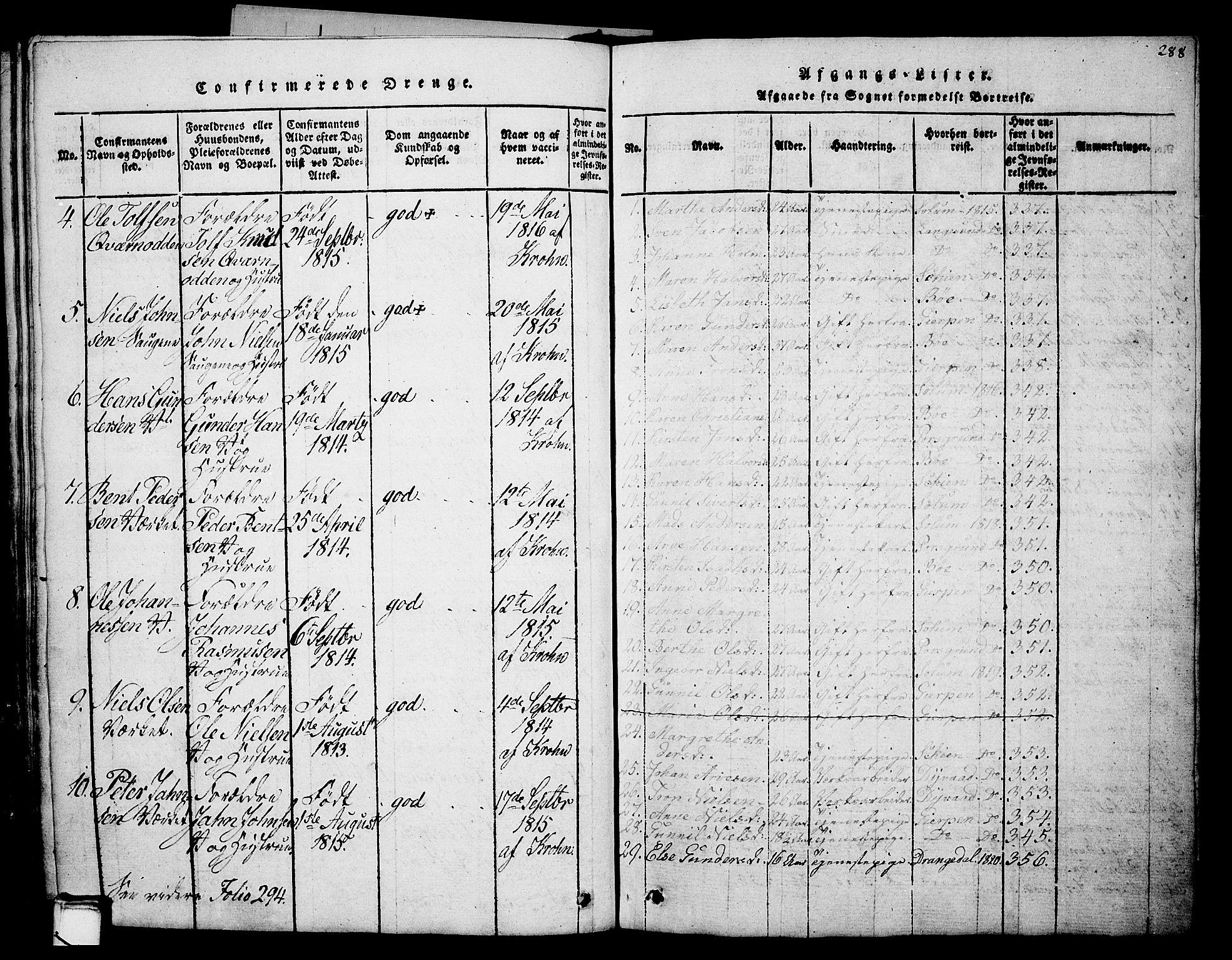 SAKO, Holla kirkebøker, G/Ga/L0001: Klokkerbok nr. I 1, 1814-1830, s. 288