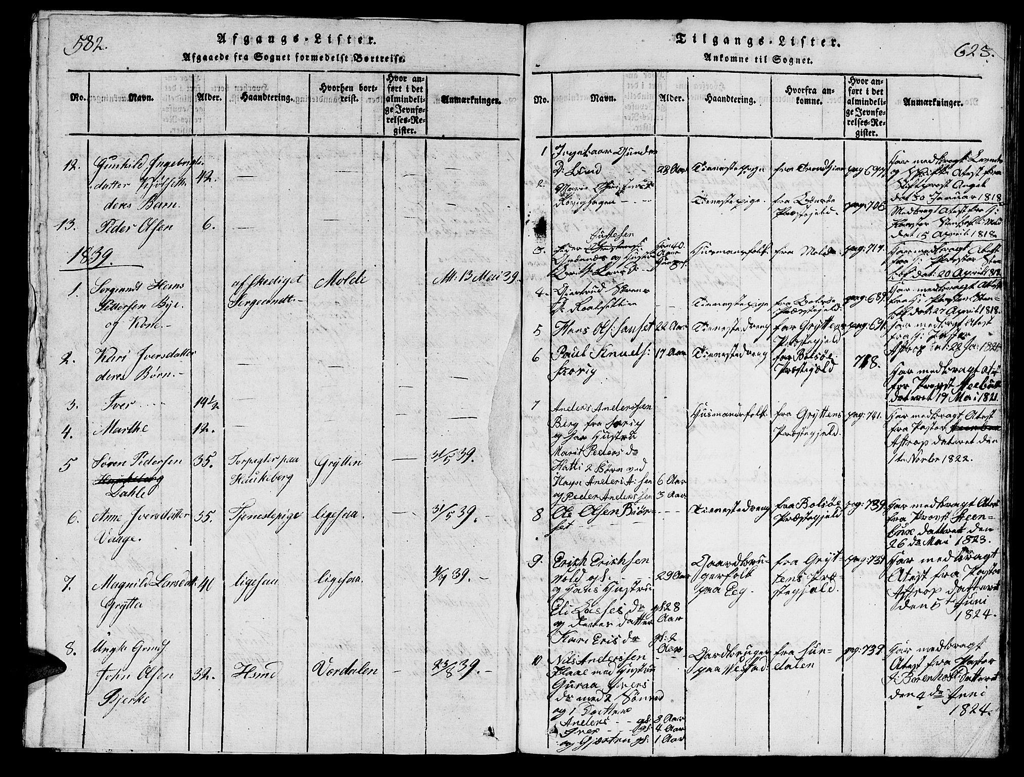 SAT, Ministerialprotokoller, klokkerbøker og fødselsregistre - Møre og Romsdal, 547/L0610: Klokkerbok nr. 547C01, 1818-1839, s. 582