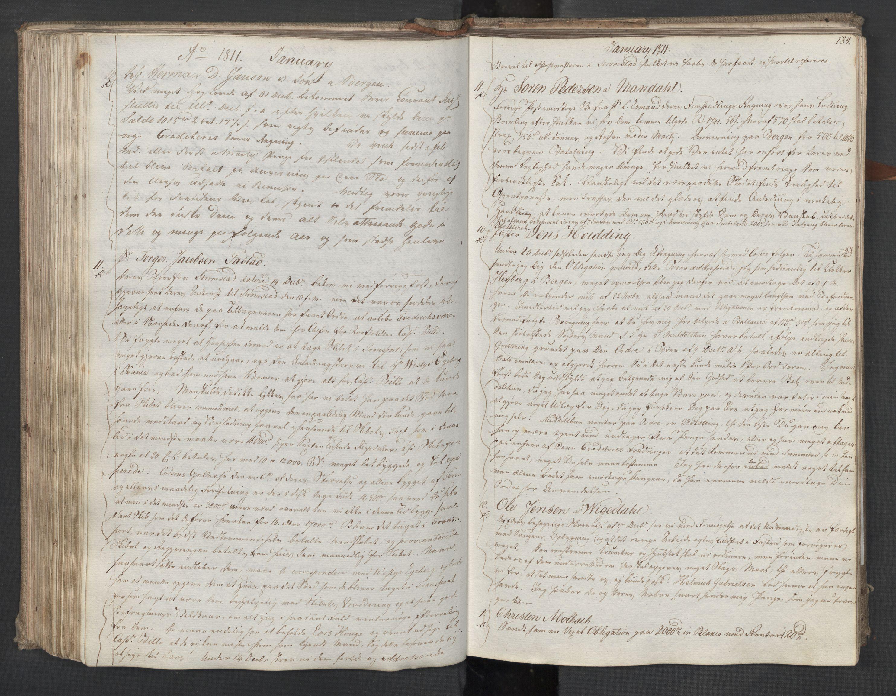 SAST, Pa 0003 - Ploug & Sundt, handelshuset, B/L0009: Kopibok, 1805-1816, s. 183b-184a
