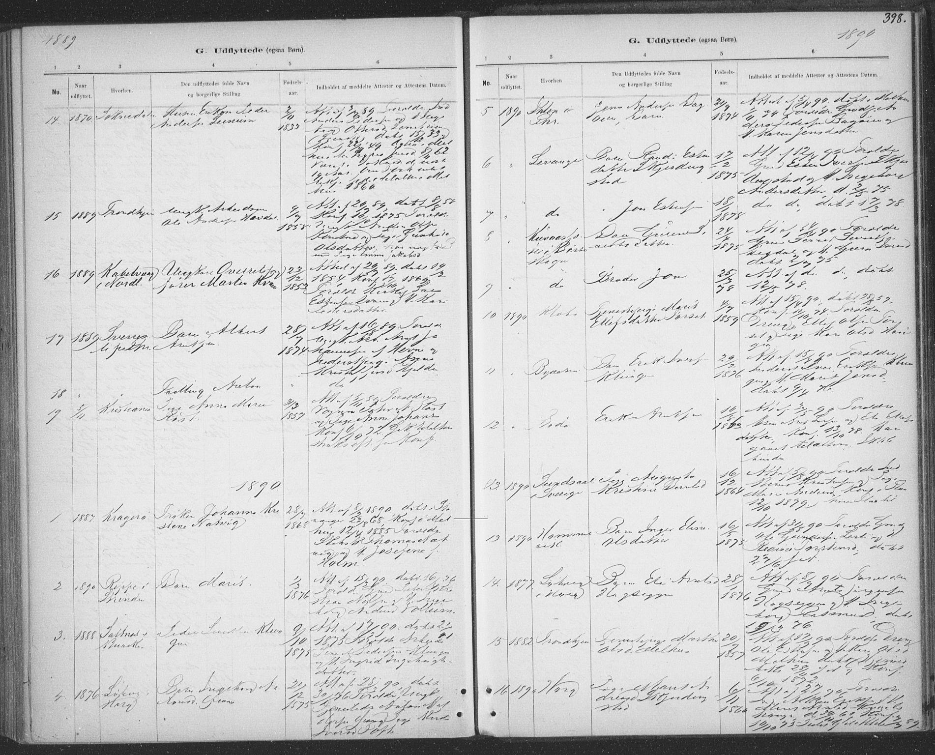 SAT, Ministerialprotokoller, klokkerbøker og fødselsregistre - Sør-Trøndelag, 691/L1085: Ministerialbok nr. 691A17, 1887-1908, s. 398