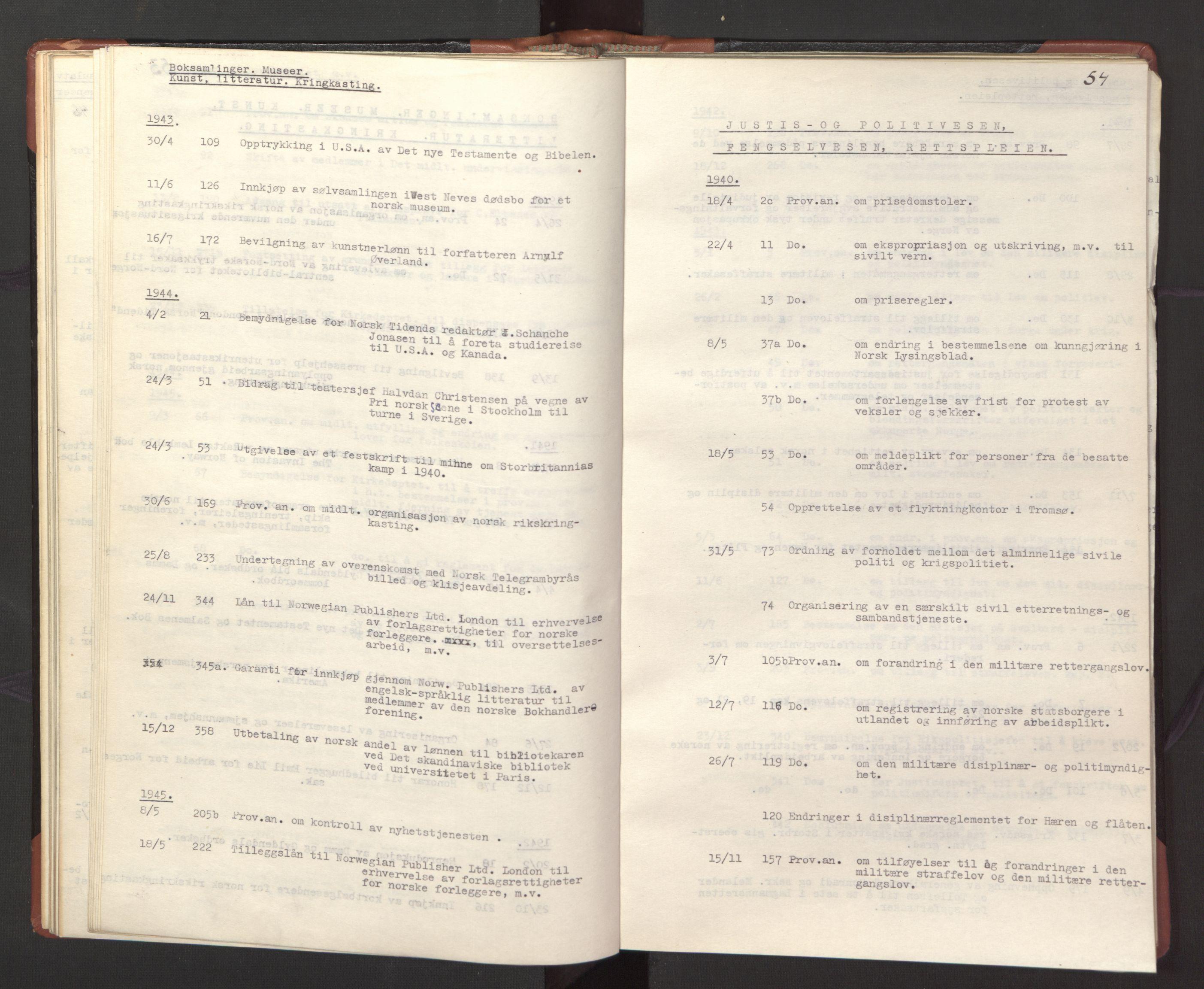 RA, Statsrådssekretariatet, A/Ac/L0127: Register 9/4-25/5, 1940-1945, s. 54