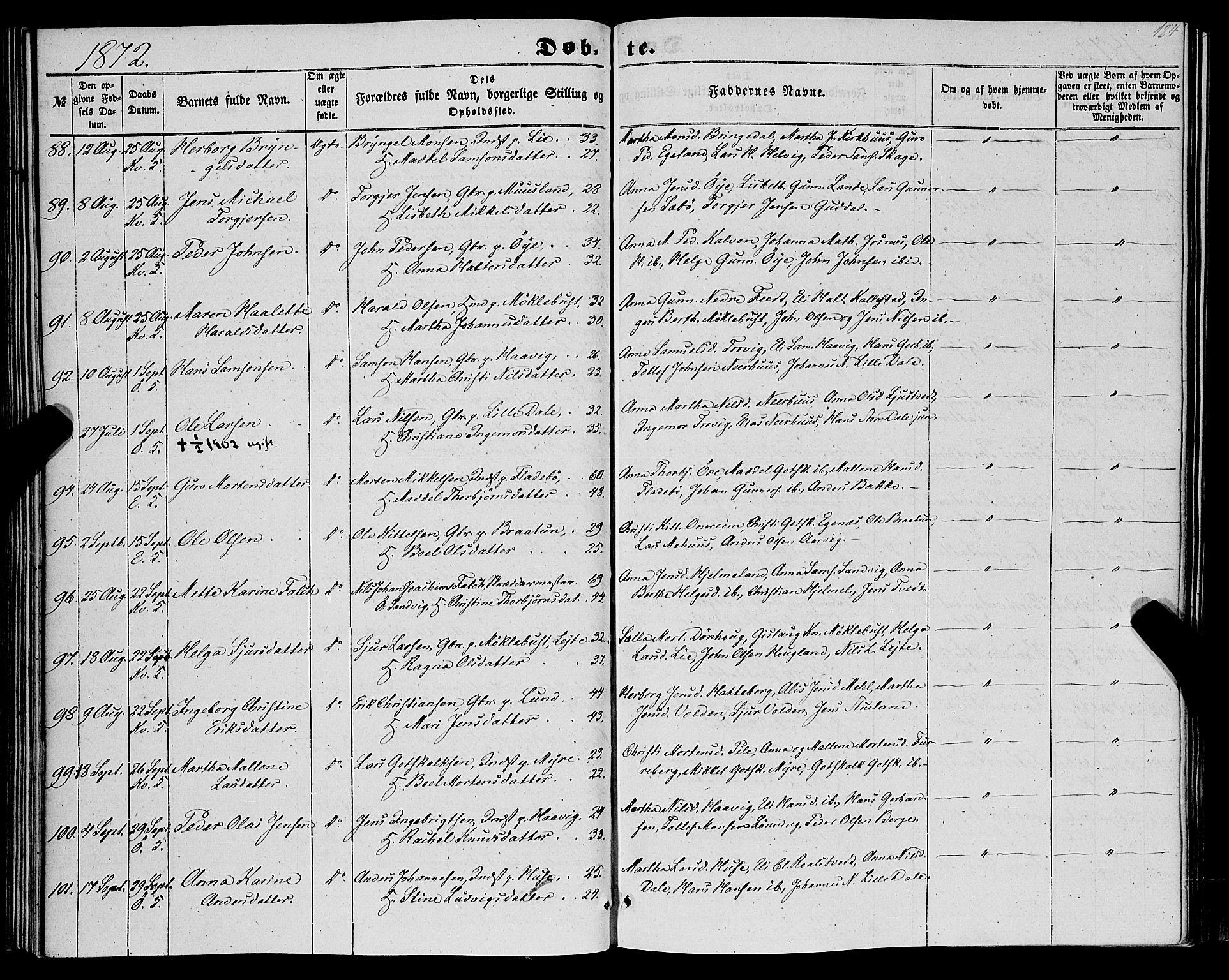 SAB, Kvinnherad Sokneprestembete, H/Haa: Ministerialbok nr. A 8, 1854-1872, s. 124
