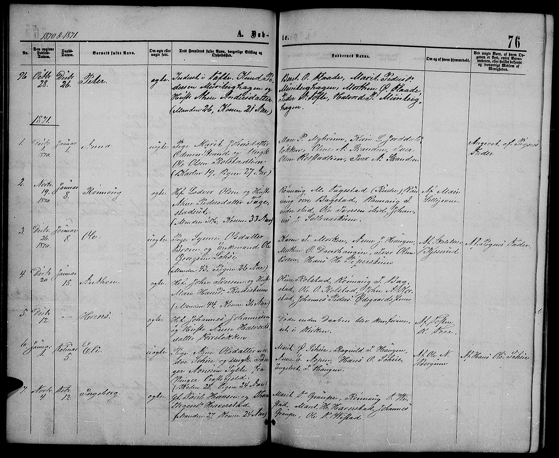SAH, Sør-Fron prestekontor, H/Ha/Hab/L0002: Klokkerbok nr. 2, 1864-1883, s. 76