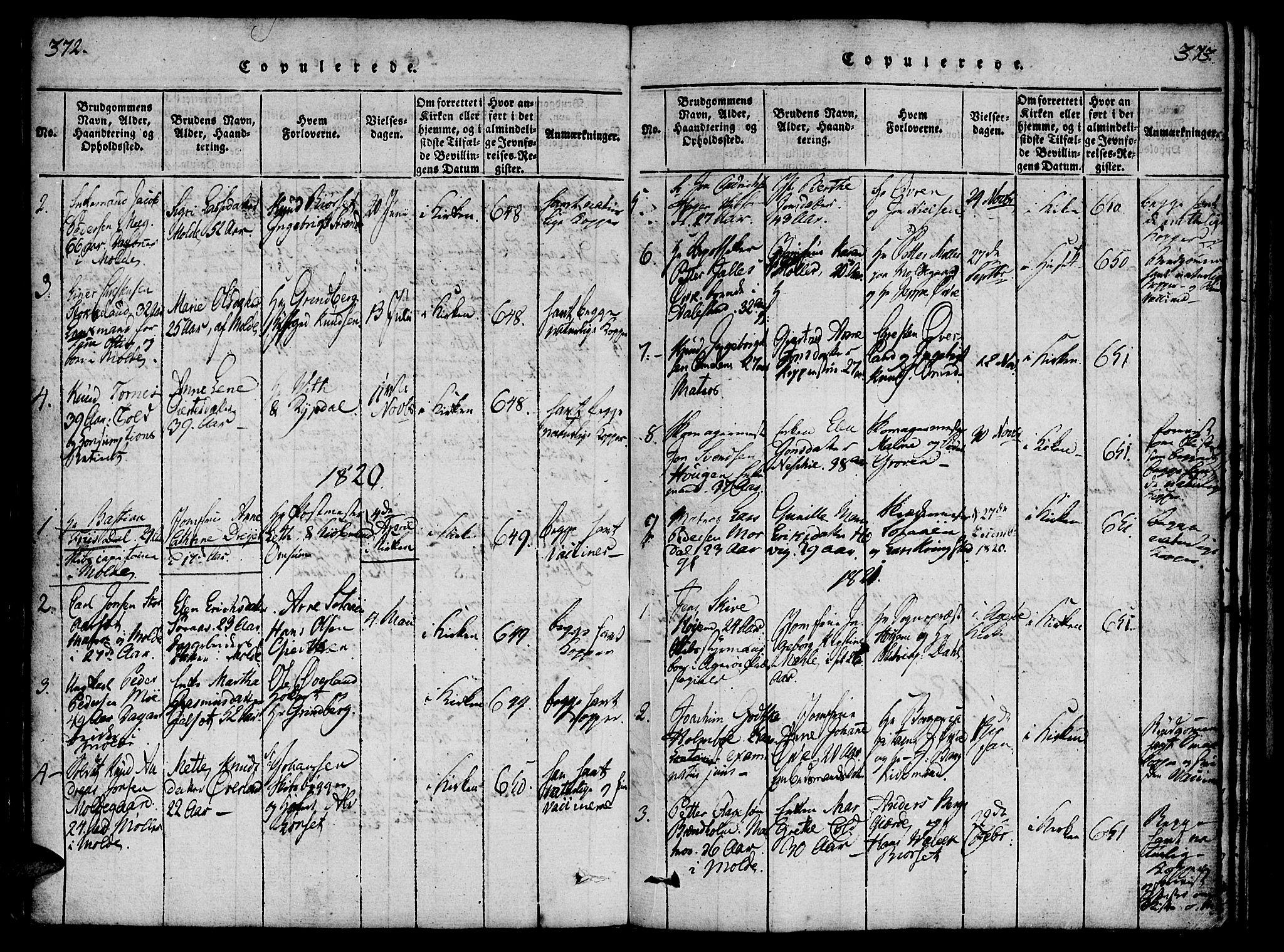 SAT, Ministerialprotokoller, klokkerbøker og fødselsregistre - Møre og Romsdal, 558/L0688: Ministerialbok nr. 558A02, 1818-1843, s. 372-373