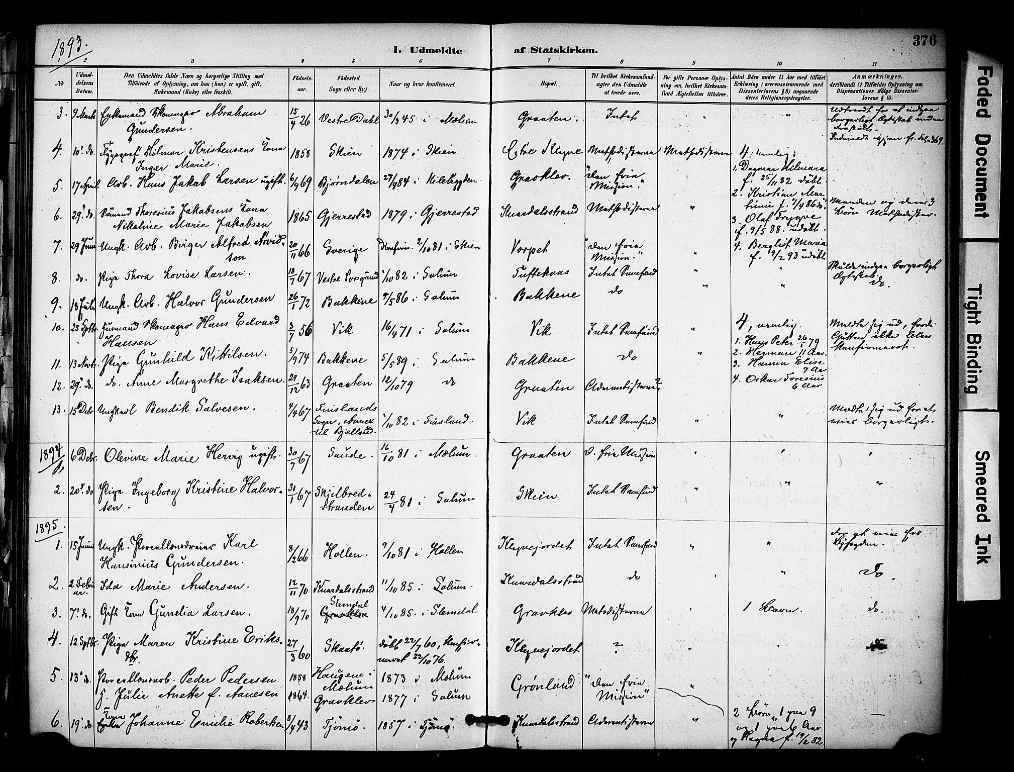 SAKO, Solum kirkebøker, F/Fa/L0010: Ministerialbok nr. I 10, 1888-1898, s. 376