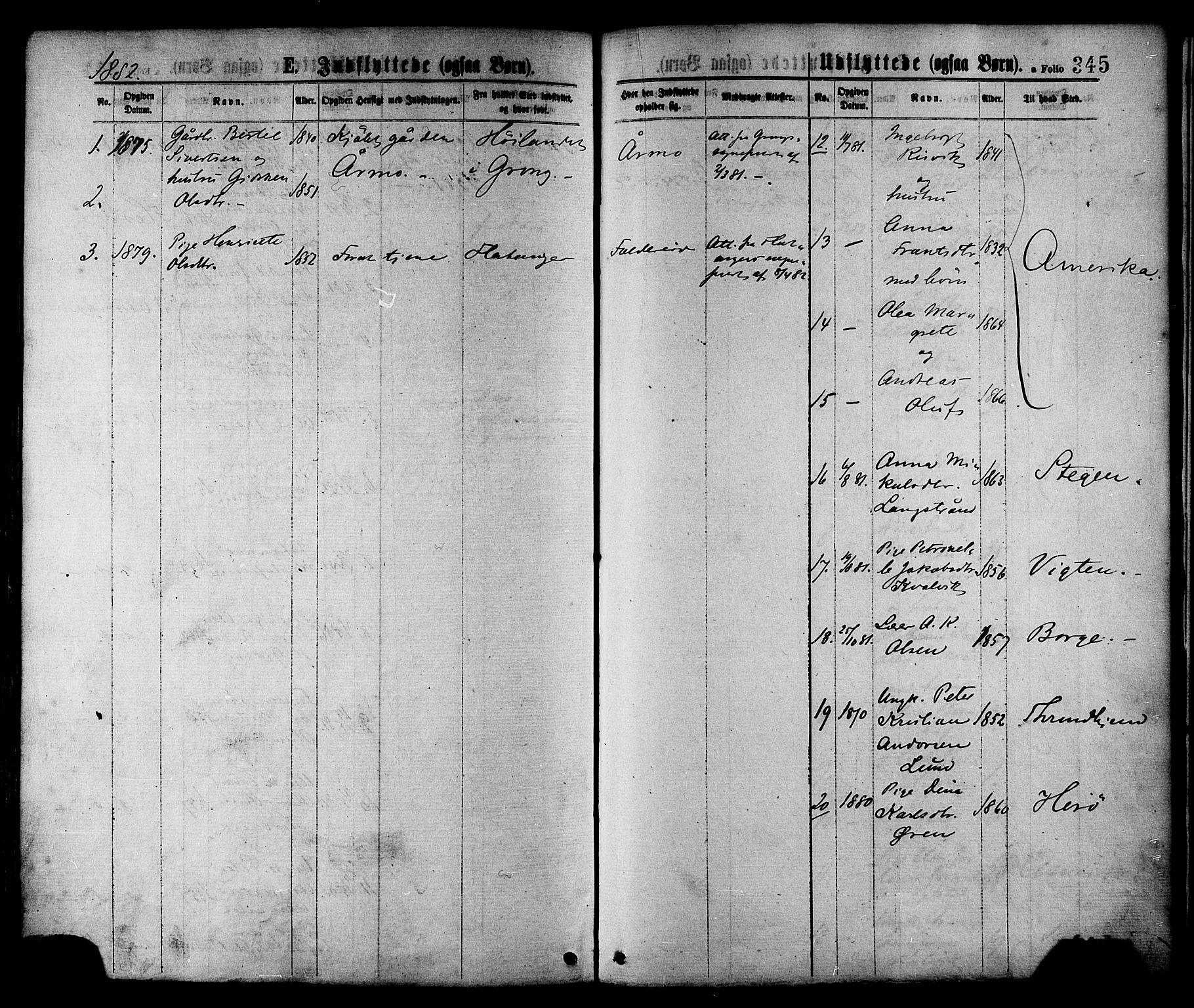 SAT, Ministerialprotokoller, klokkerbøker og fødselsregistre - Nord-Trøndelag, 780/L0642: Ministerialbok nr. 780A07 /1, 1874-1885, s. 345