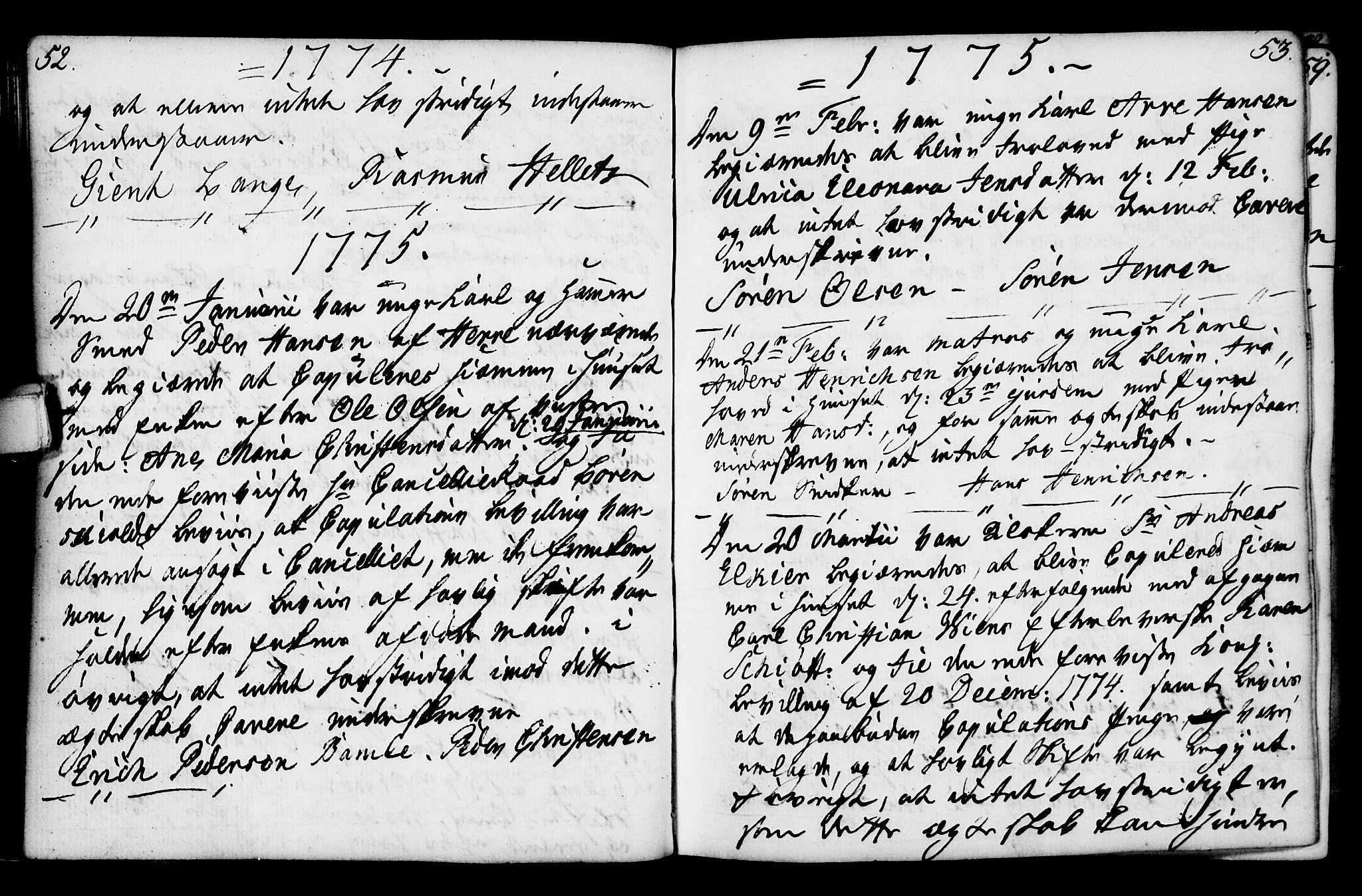 SAKO, Porsgrunn kirkebøker , F/Fa/L0003: Ministerialbok nr. 3, 1764-1814, s. 52-53