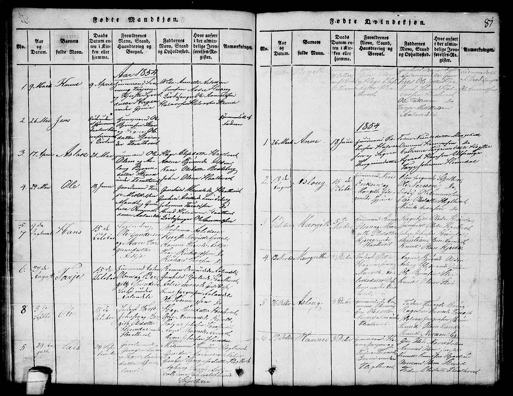 SAKO, Lårdal kirkebøker, G/Ga/L0001: Klokkerbok nr. I 1, 1815-1861, s. 81