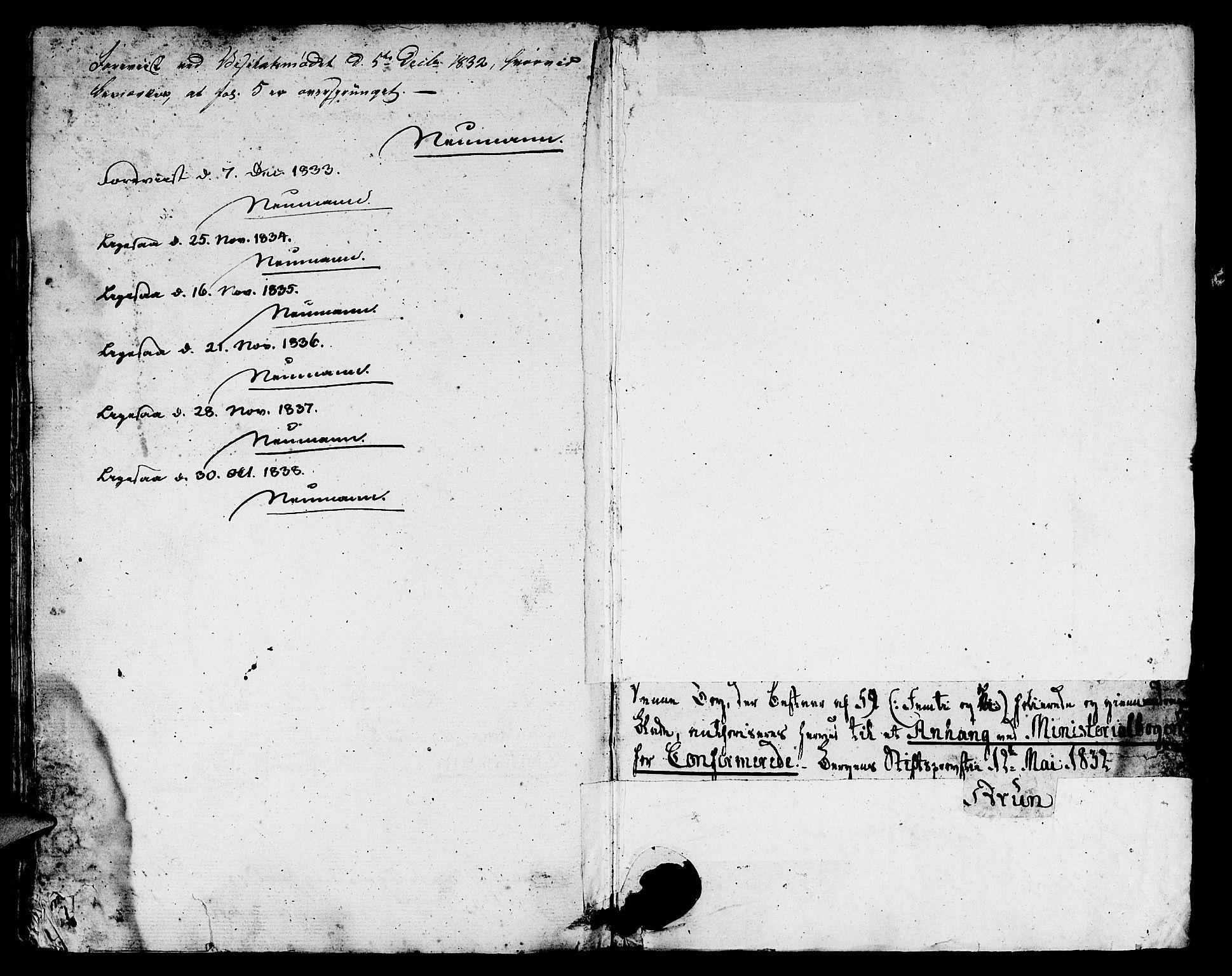 SAB, Domkirken Sokneprestembete, H/Hab/L0021: Klokkerbok nr. C 1, 1832-1838, s. 61