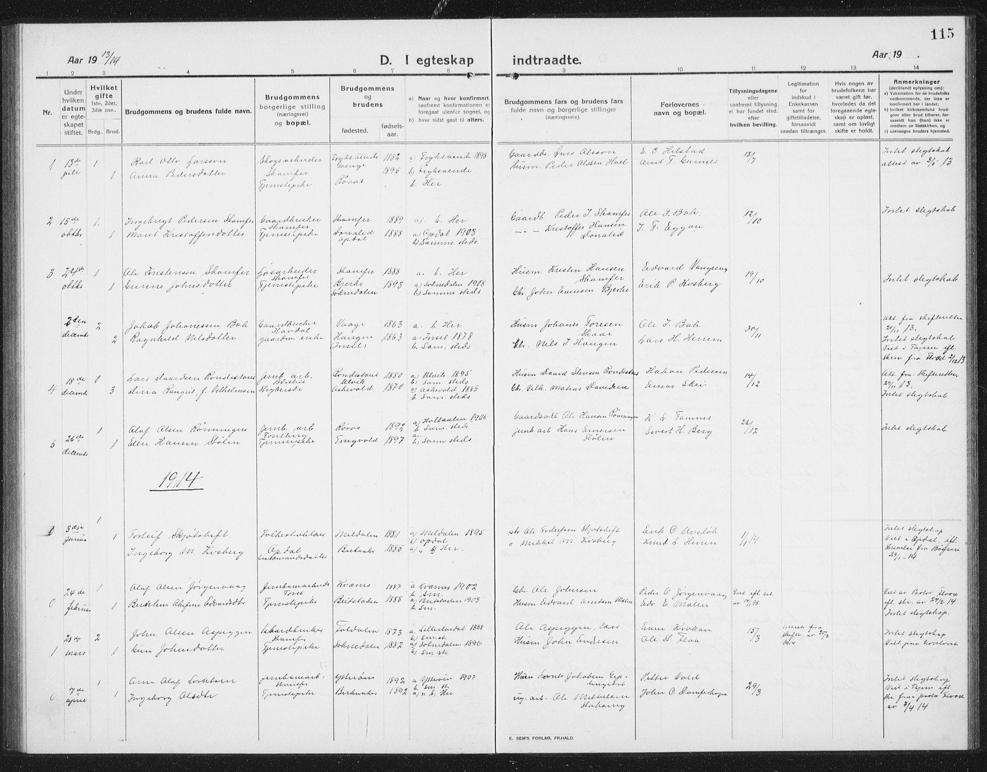 SAT, Ministerialprotokoller, klokkerbøker og fødselsregistre - Sør-Trøndelag, 675/L0888: Klokkerbok nr. 675C01, 1913-1935, s. 115