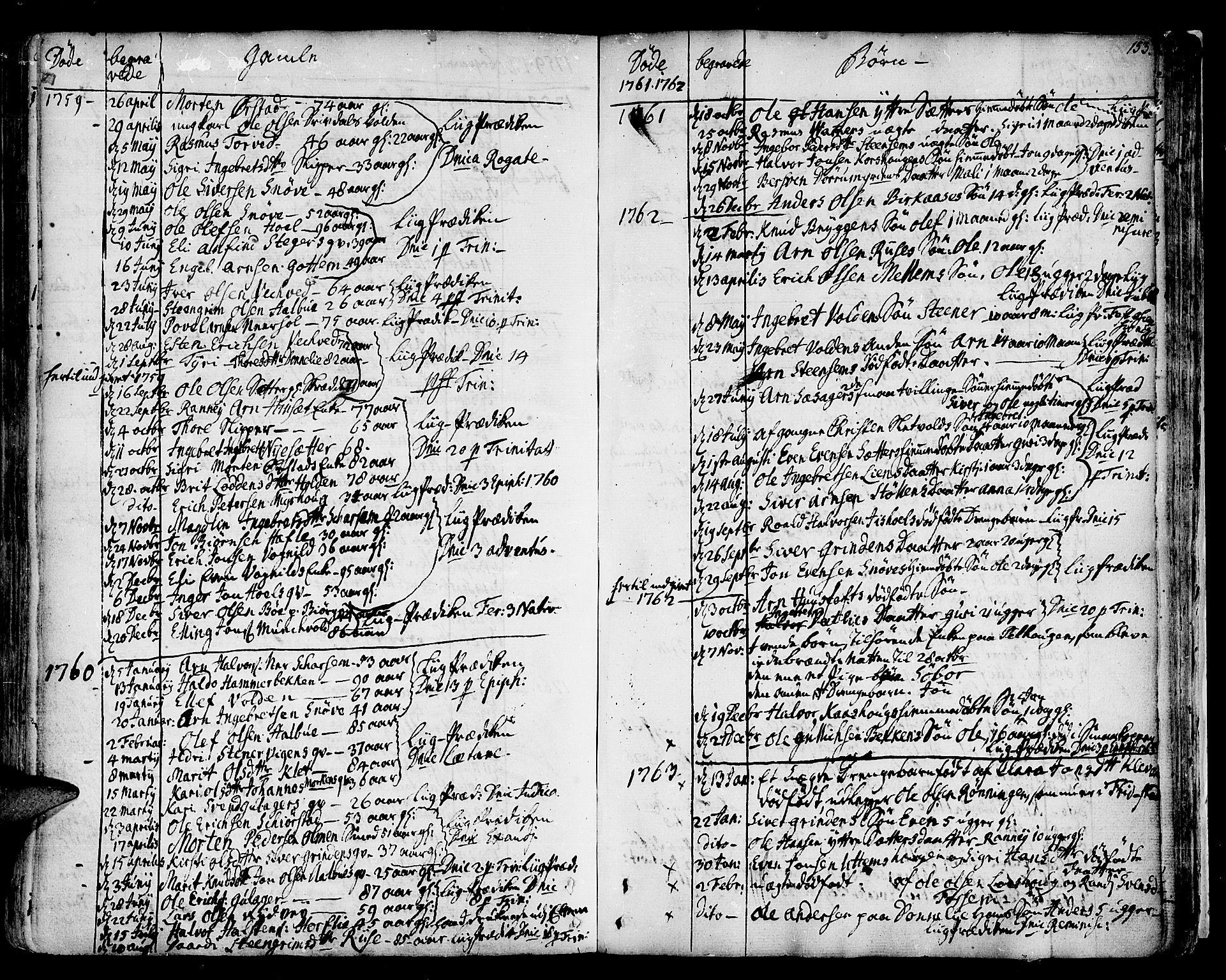 SAT, Ministerialprotokoller, klokkerbøker og fødselsregistre - Sør-Trøndelag, 678/L0891: Ministerialbok nr. 678A01, 1739-1780, s. 153