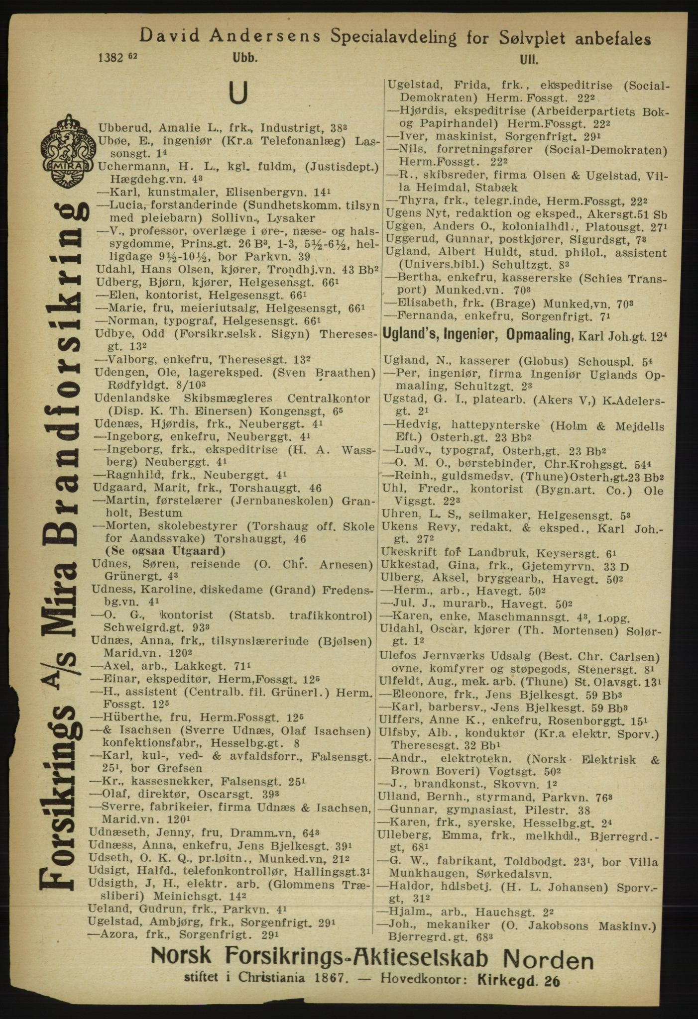 RA, Kristiania adressebok (publikasjon)*, 1918, s. 1435