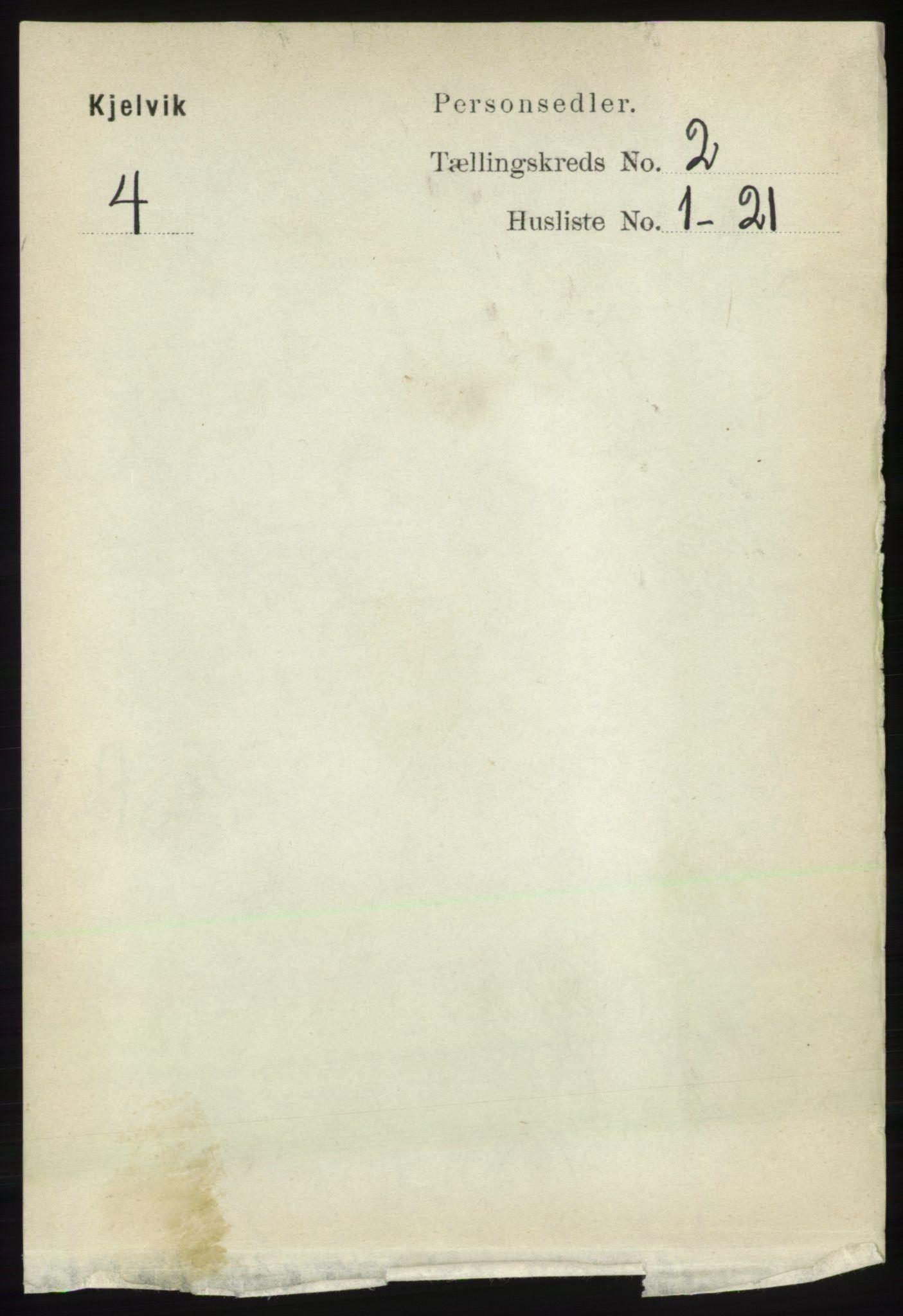 RA, Folketelling 1891 for 2019 Kjelvik herred, 1891, s. 101