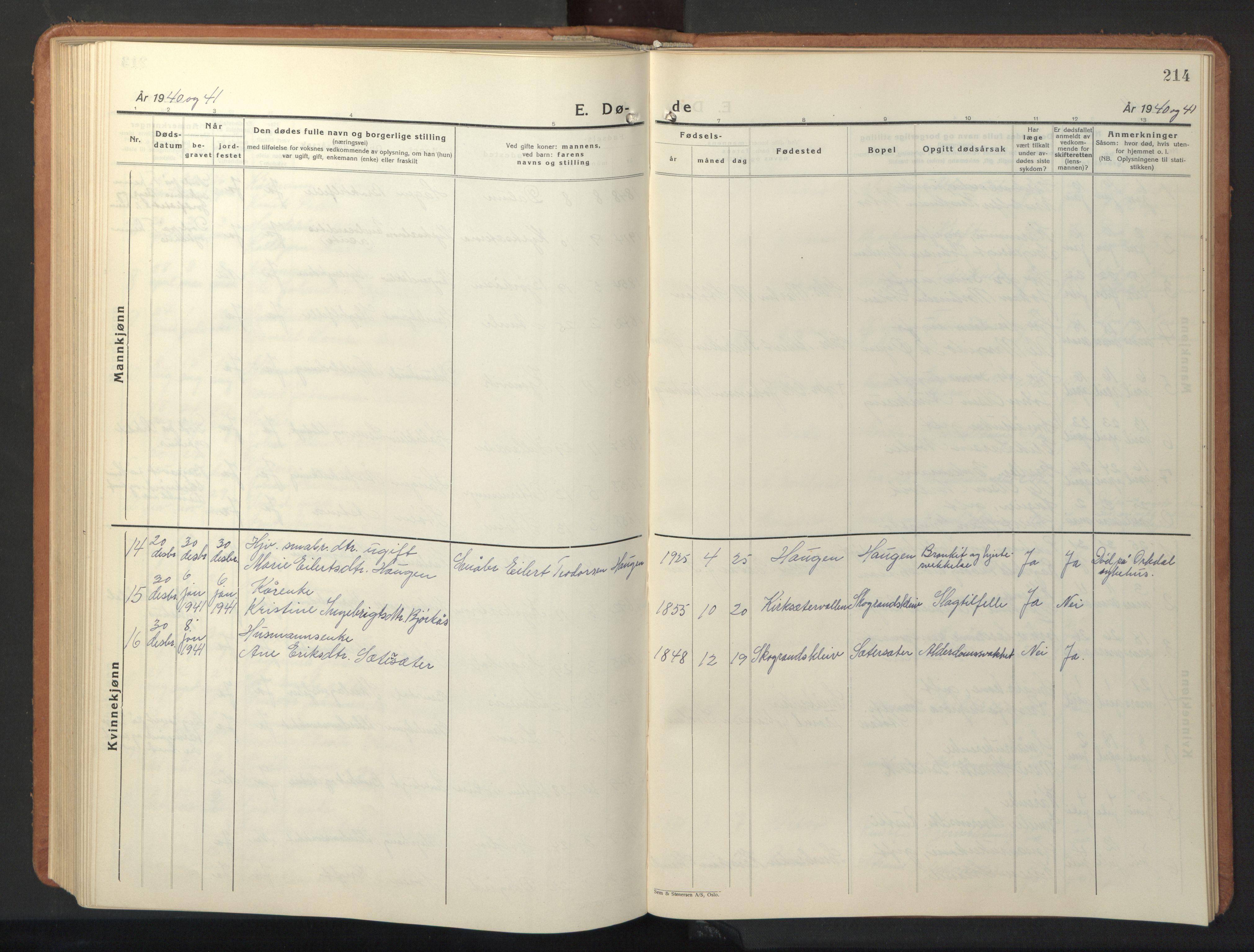 SAT, Ministerialprotokoller, klokkerbøker og fødselsregistre - Sør-Trøndelag, 630/L0508: Klokkerbok nr. 630C06, 1933-1950, s. 214