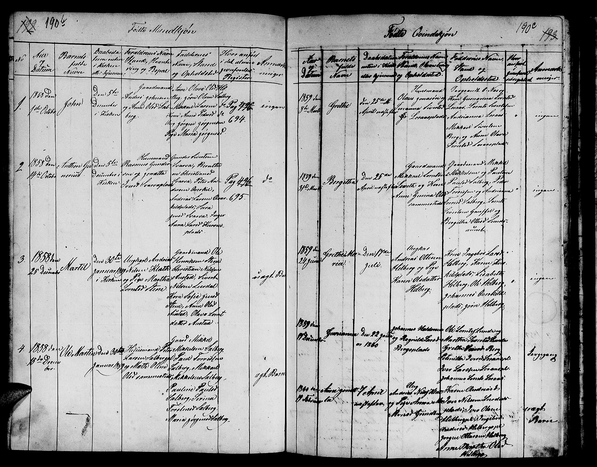 SAT, Ministerialprotokoller, klokkerbøker og fødselsregistre - Nord-Trøndelag, 731/L0310: Klokkerbok nr. 731C01, 1816-1874, s. 190c-190d