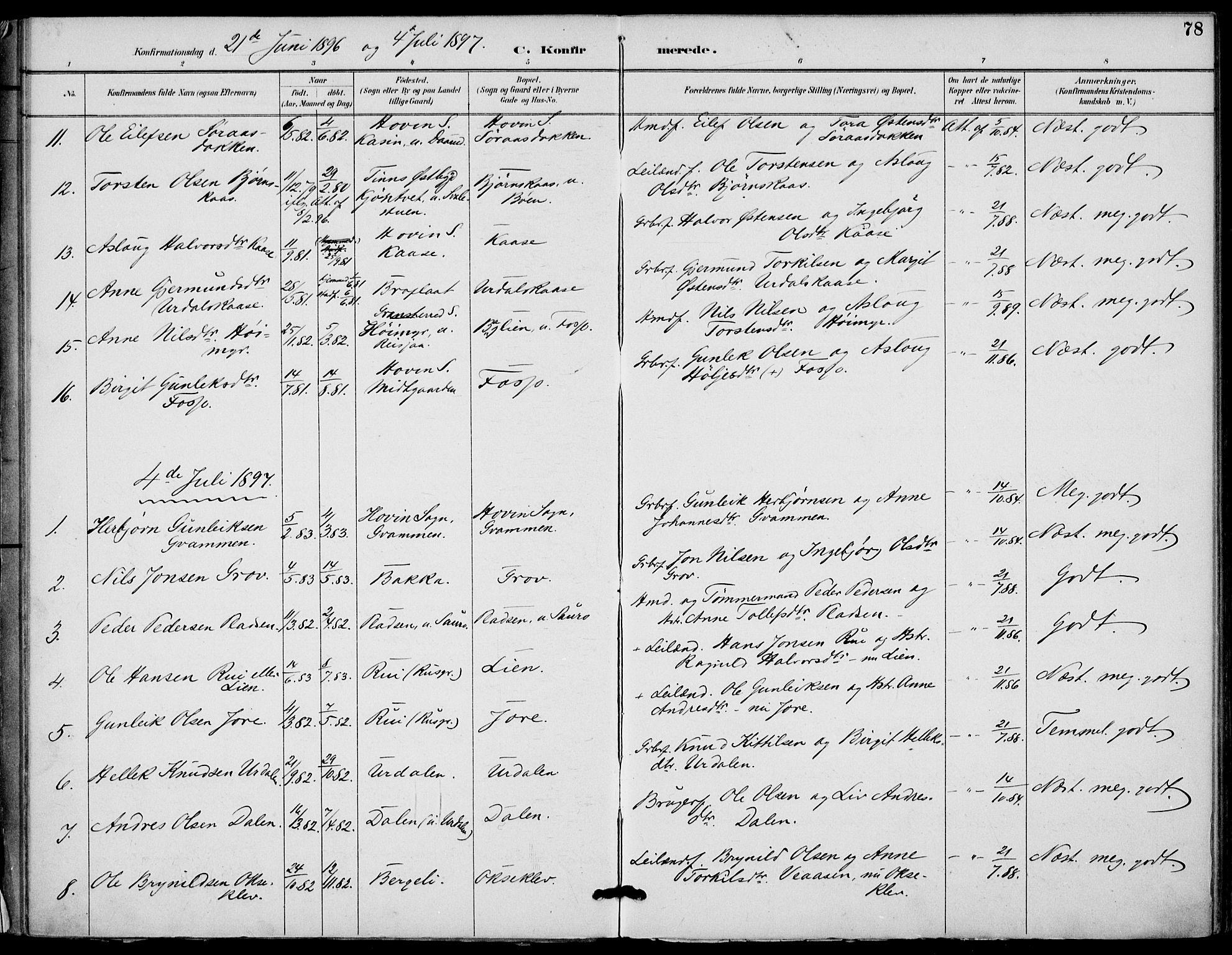 SAKO, Gransherad kirkebøker, F/Fb/L0005: Ministerialbok nr. II 5, 1887-1916, s. 78