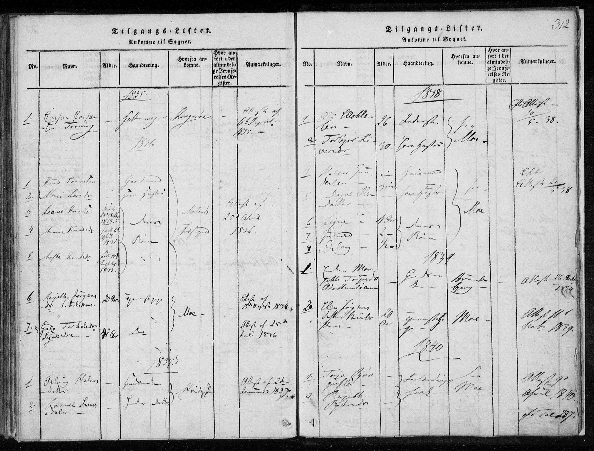 SAKO, Lårdal kirkebøker, F/Fa/L0005: Ministerialbok nr. I 5, 1815-1860, s. 312