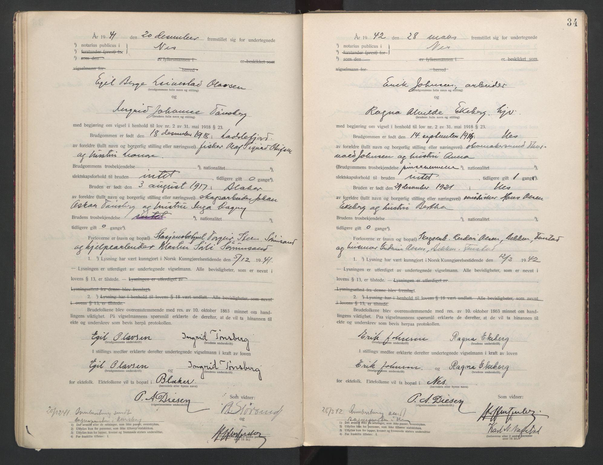 SAO, Nes tingrett, L/Lc/Lca/L0001: Vigselbok, 1920-1943, s. 34