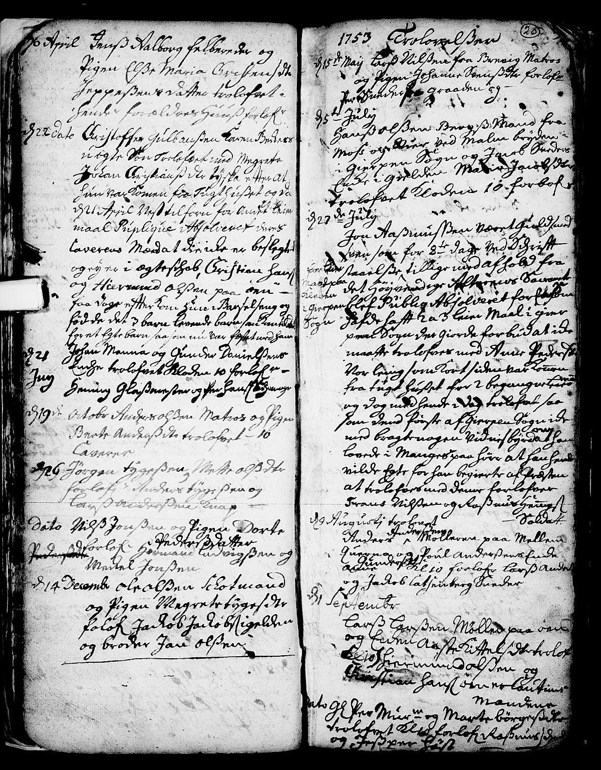 SAKO, Skien kirkebøker, F/Fa/L0002: Ministerialbok nr. 2, 1716-1757, s. 20