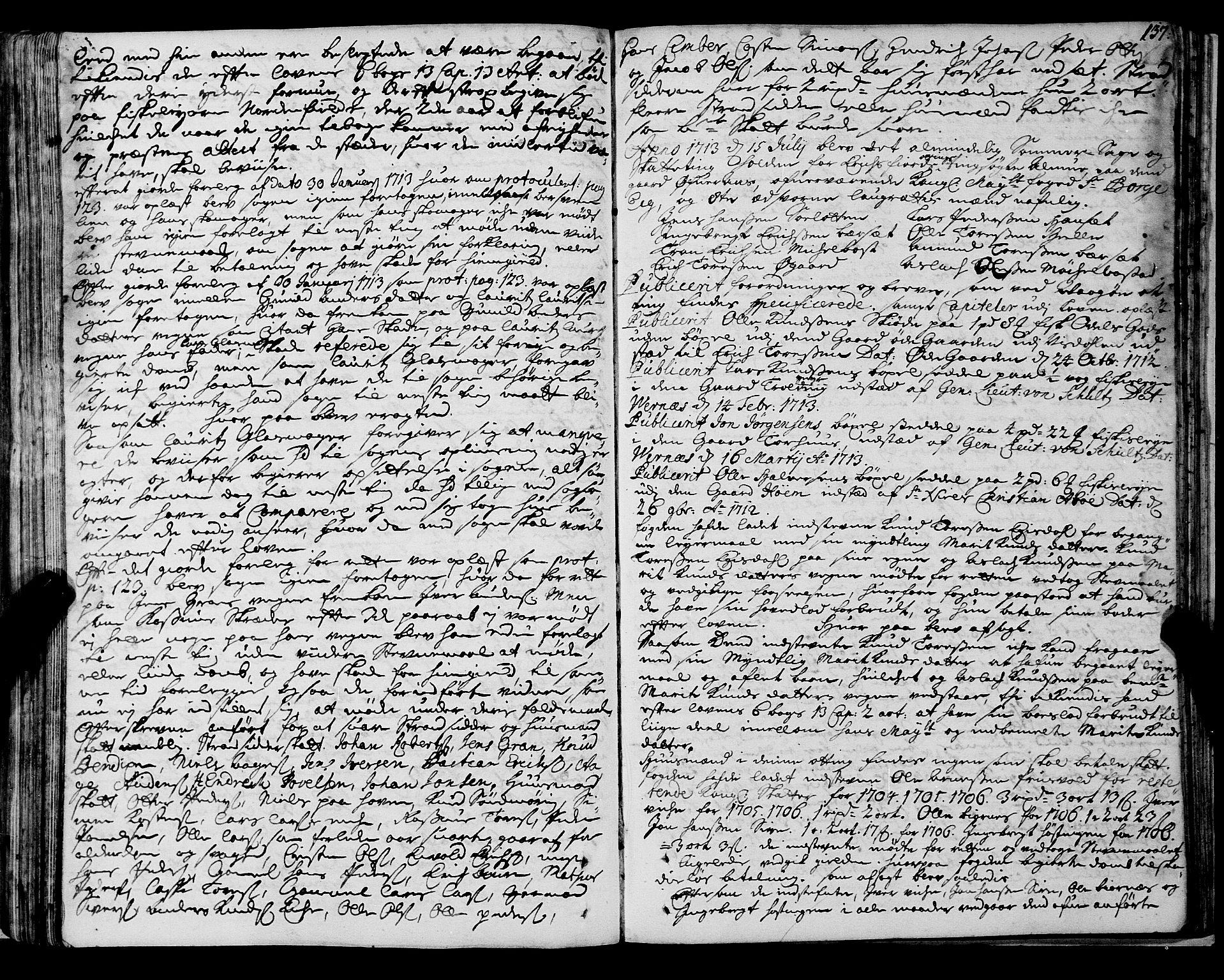 SAT, Romsdal sorenskriveri, 1/1A/L0007: Tingbok, 1711-1714, s. 136b-137a
